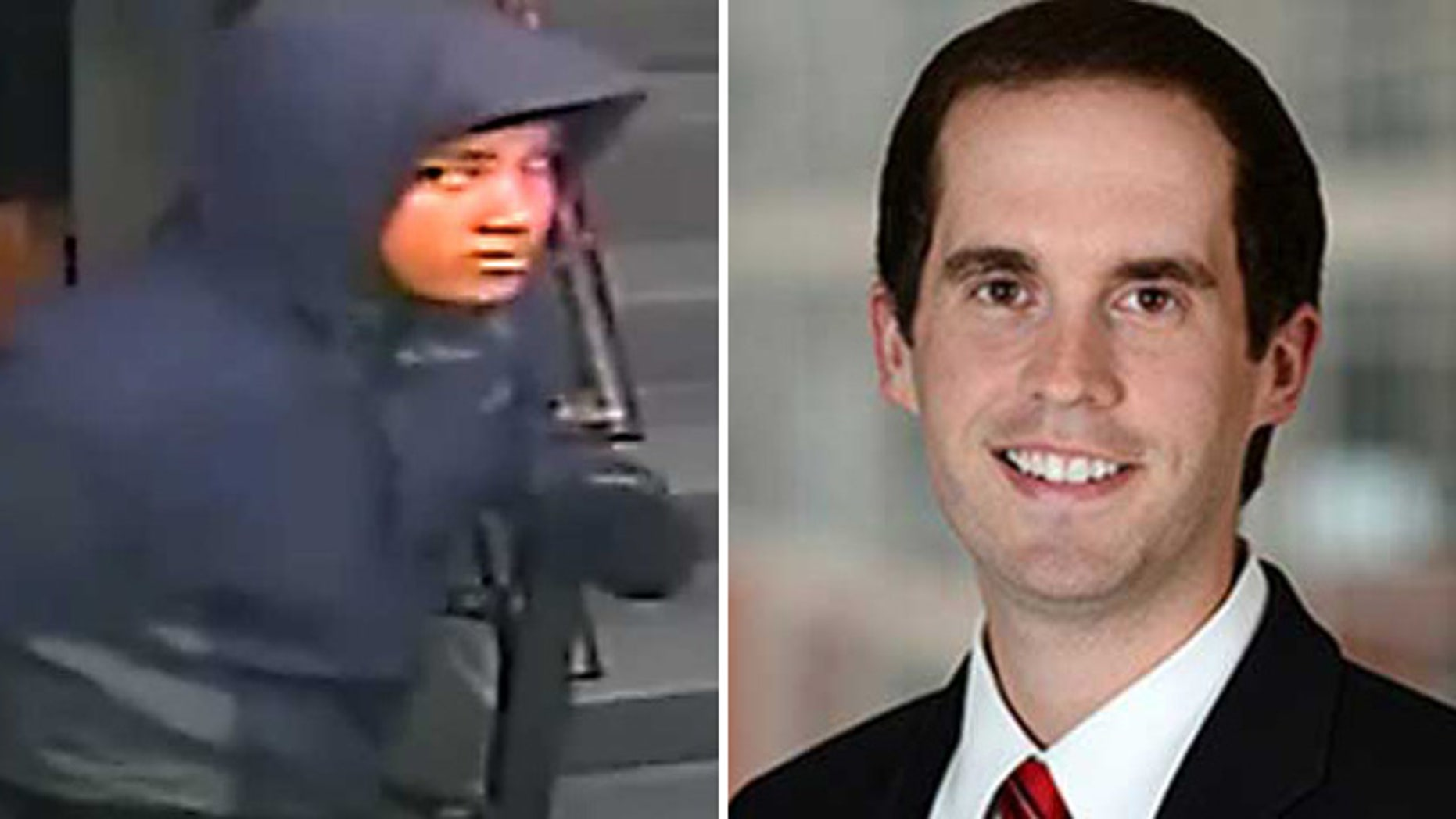 These photos show a person of interest, left, in the Feb. 9 stabbing death of attorney David Messerschmitt, right, at the Donovan Hotel in Washington, D.C. (Courtesy Metropolitan Police Department/MyFoxDC.com)