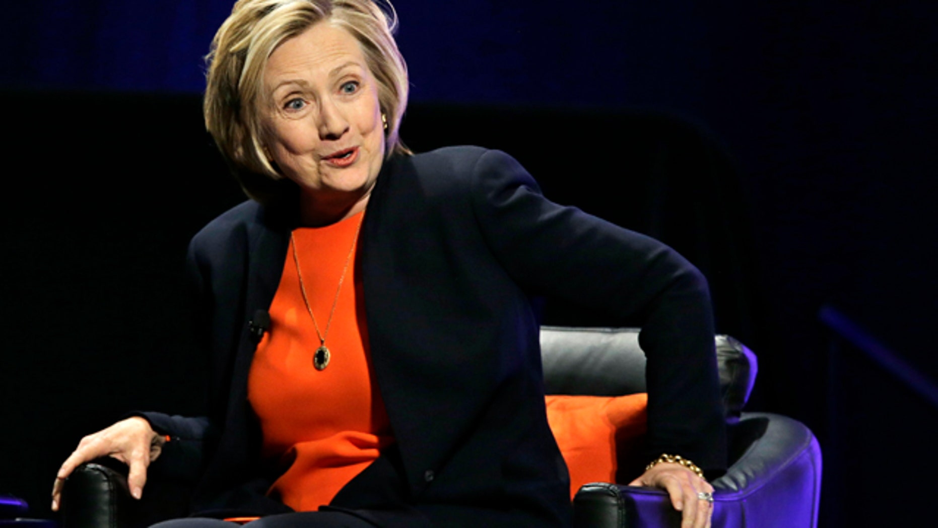 March 19, 2015: Former Secretary of State Hillary Rodham Clinton smiles as she answers a question after addressing around 3,000 summer camp and out of school time professionals at the American Camp Association and Tri State CAMP conference in Atlantic City, N.J. (AP Photo/Mel Evans)