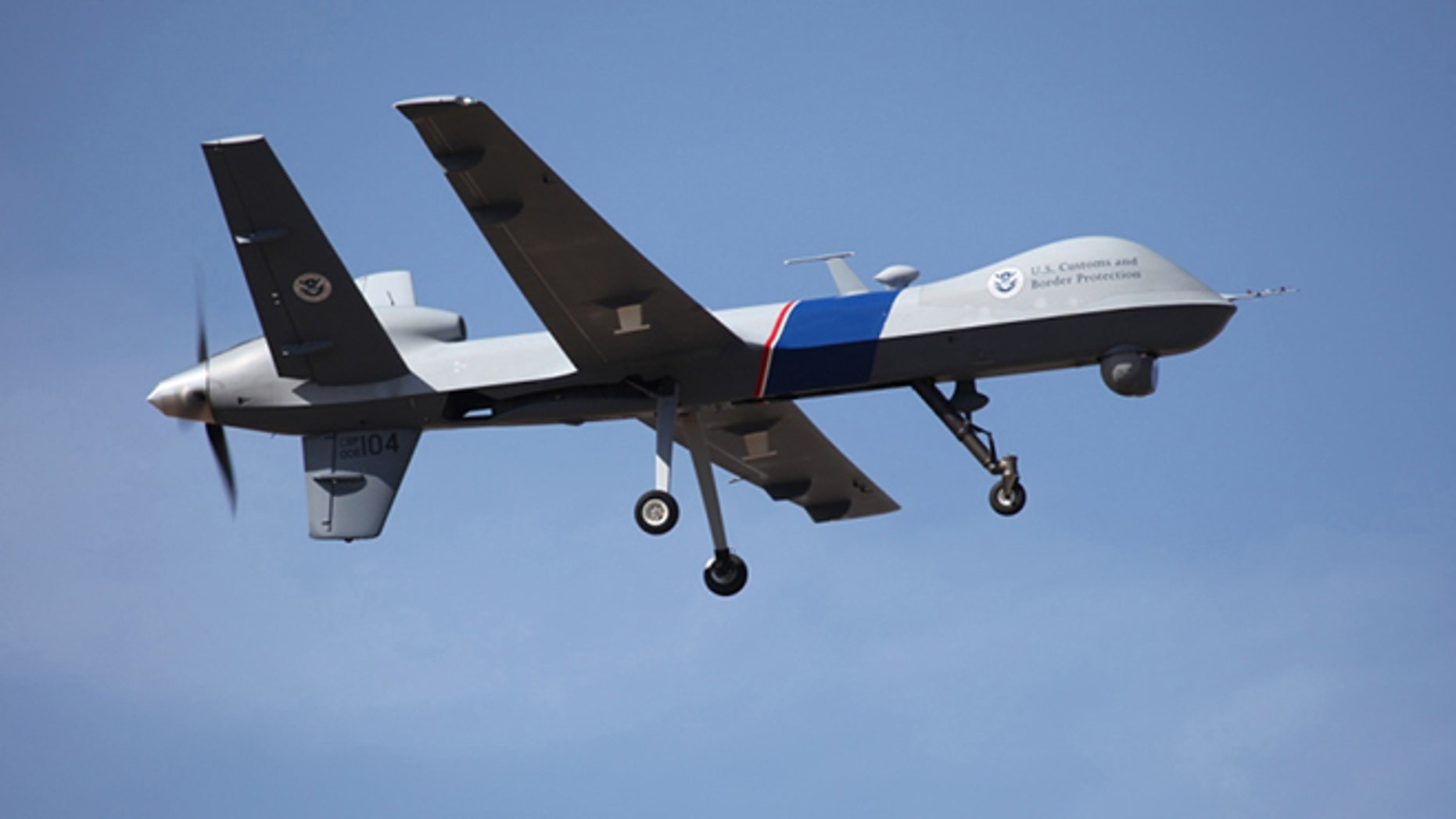 This undated photo provided by U.S. Customs and Border Protection shows an unmanned drone used to patrol the U.S.-Canadian border.