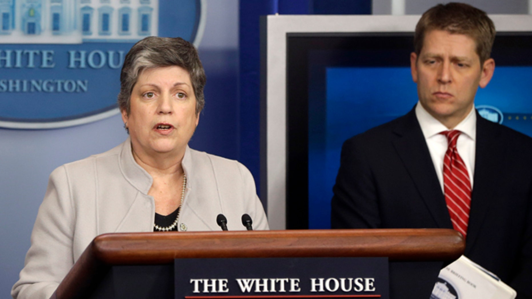 Homeland Security Secretary Janet Napolitano, accompanied by White House press secretary Jay Carney, briefs reporters on the sequester, Monday, Feb. 25, 2013.