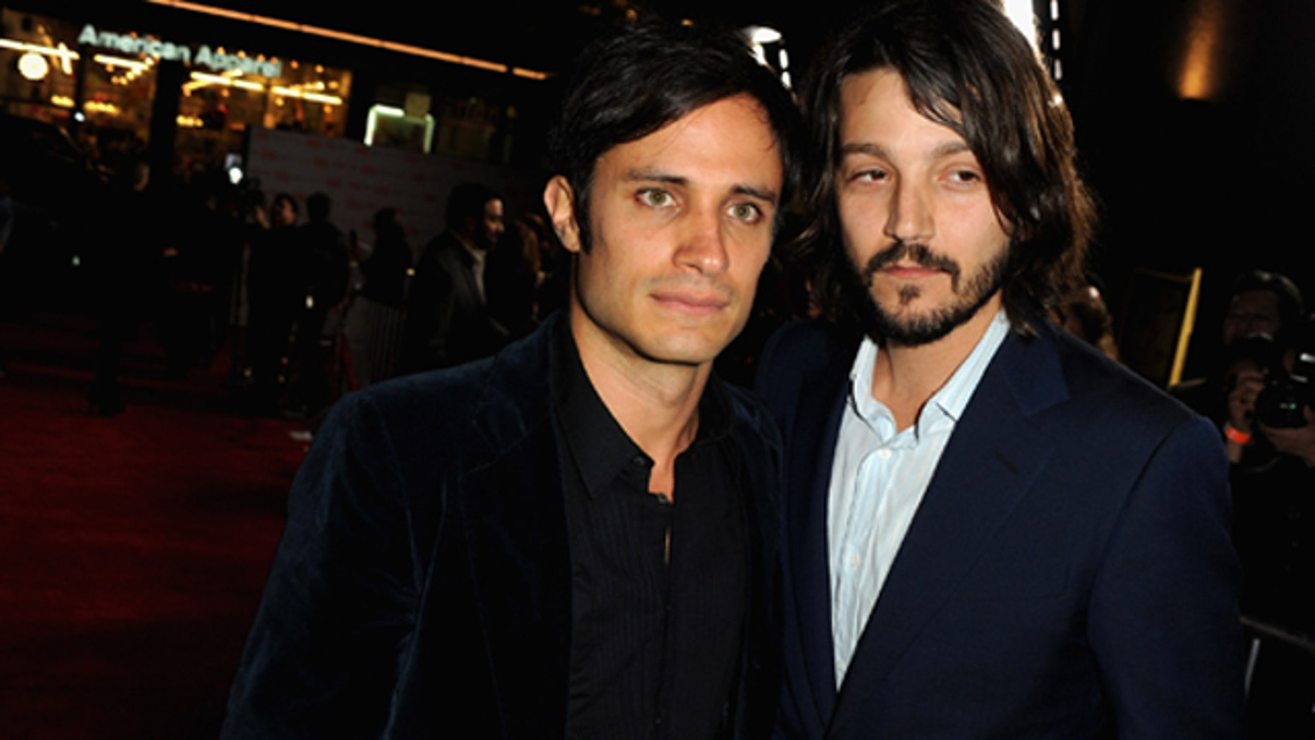 """March 14, 2012: Actors Gael García Bernal and Diego Luna arrive at Premiere of Pantelion Films """"Casa De Mi Padre"""" at the Chinese Theater in Hollywood, Calif."""