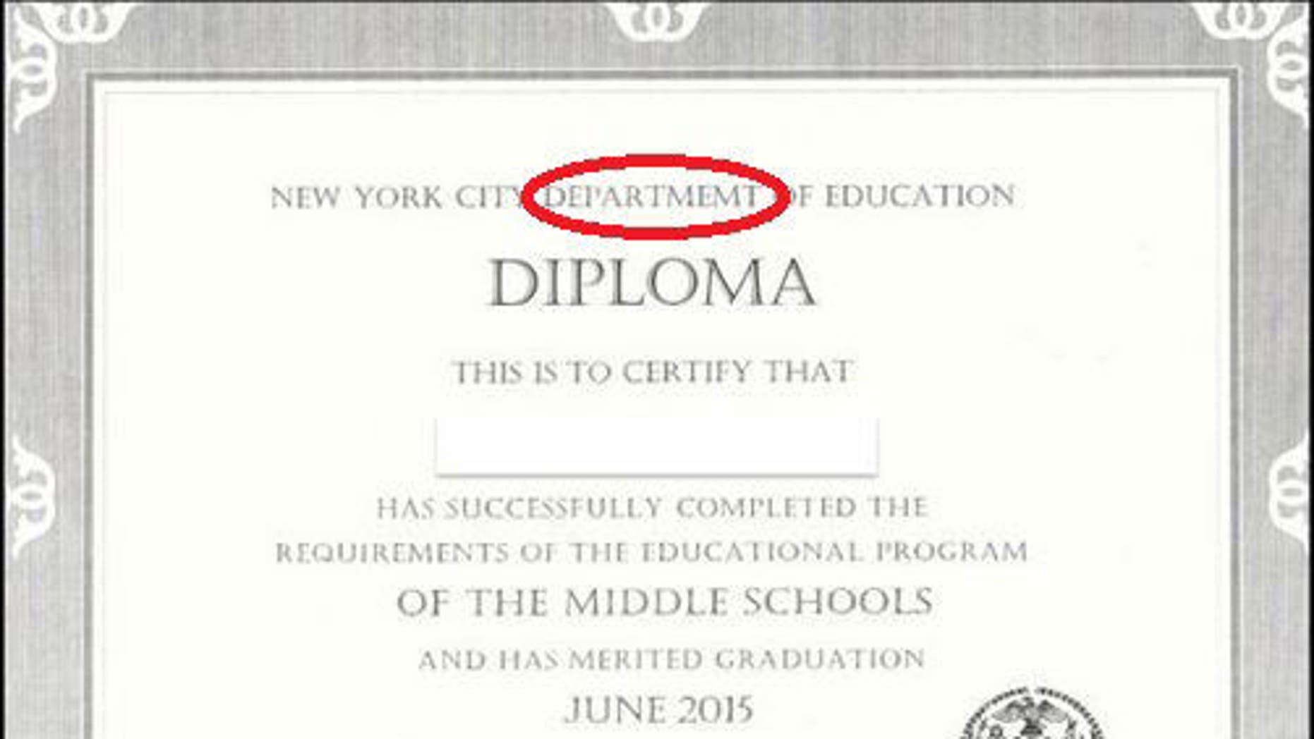 """Students graduating from New York City's Robert F. Wagner Middle School received diplomas with the word """"department"""" misspelled. (MyFoxNY.com)"""