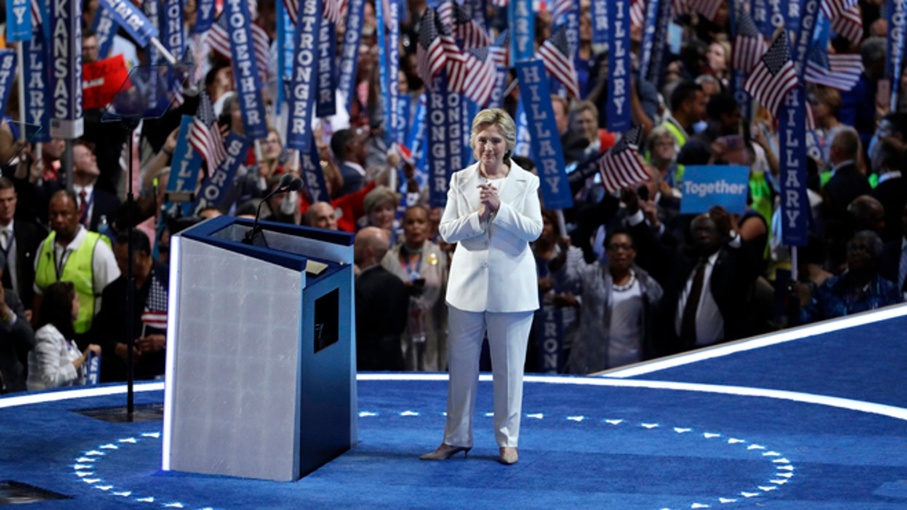 Democratic presidential nominee Hillary on July 28, 2016.
