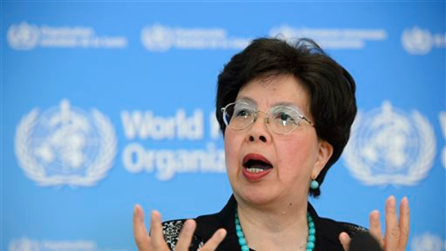 In this Friday, Sept. 12, 2014, file photo, Director-General of the World Health Organization (WHO) Dr. Margaret Chan speaks during a news conference about support to countries affected by the Ebola virus, at WHO headquarters in Geneva, Switzerland. (AP Photo/Keystone, Martial Trezzini, File)