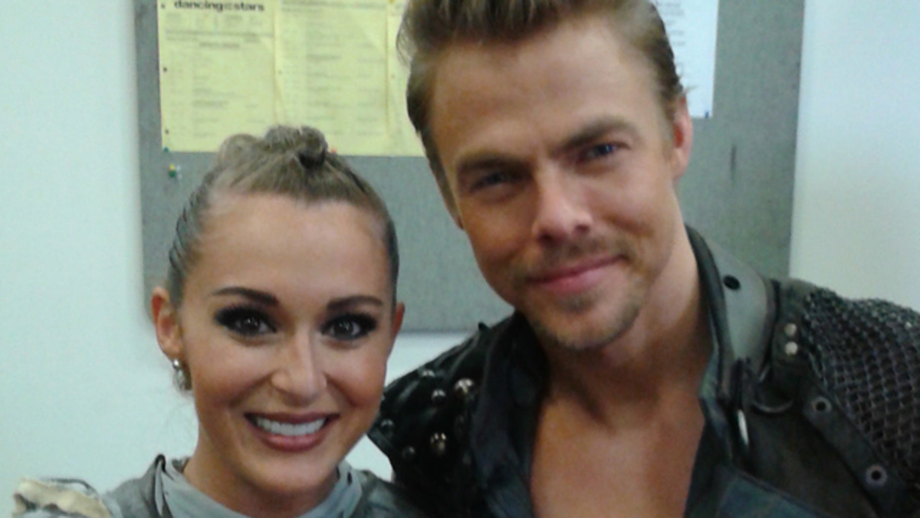 Oct. 12, 2015: Alexa PenaVega and Derek Hough pose backstage after earning a perfect score on 'Dancing With The Stars' (Carole Glines)