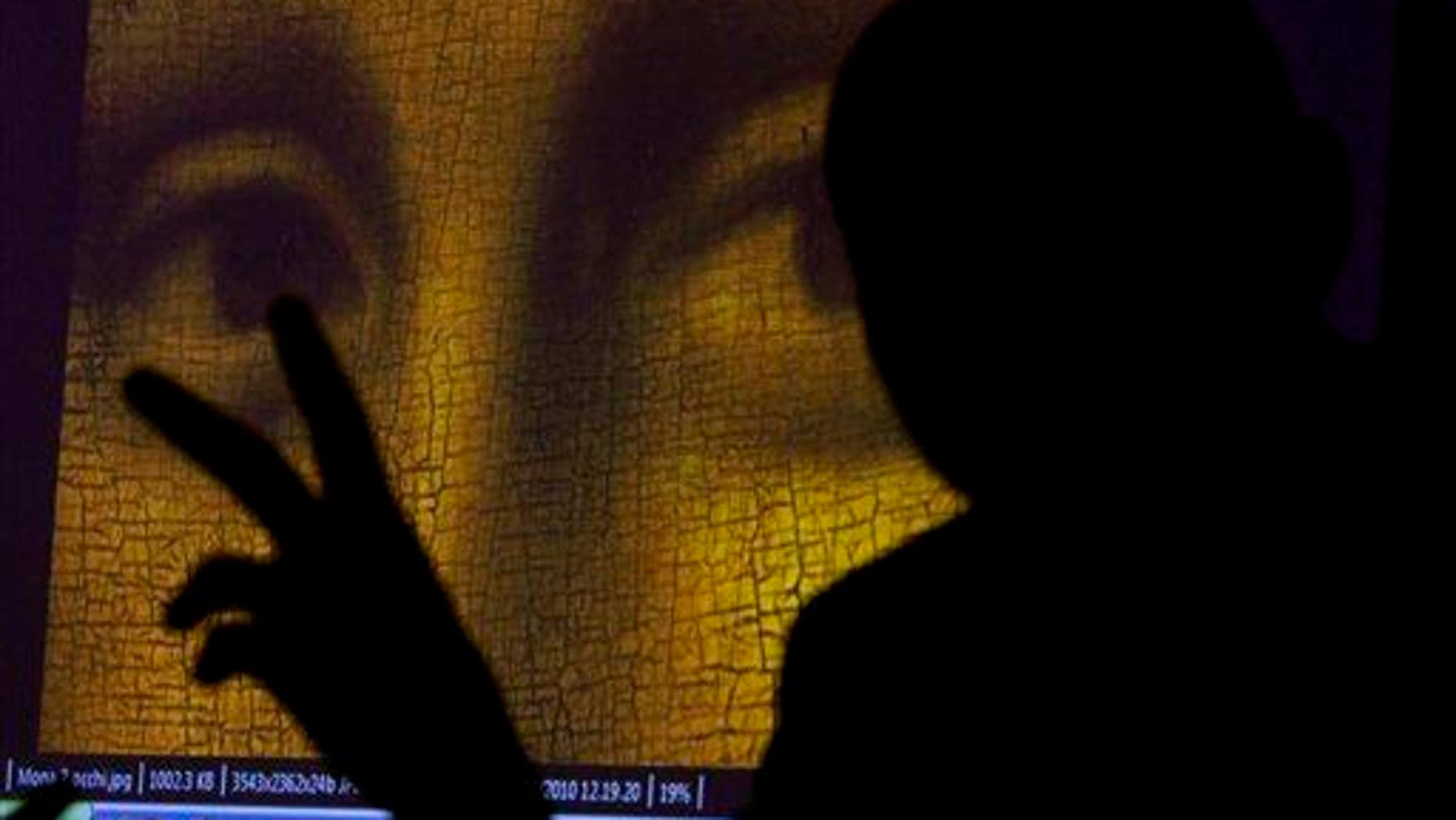 "This 2011 file photo shows art historian and researcher Silvano Vinceti, silhouetted, gesturing as an image showing the detail of the eyes of Italian artist Leonardo da Vinci's ""Mona Lisa"" painting is projected."