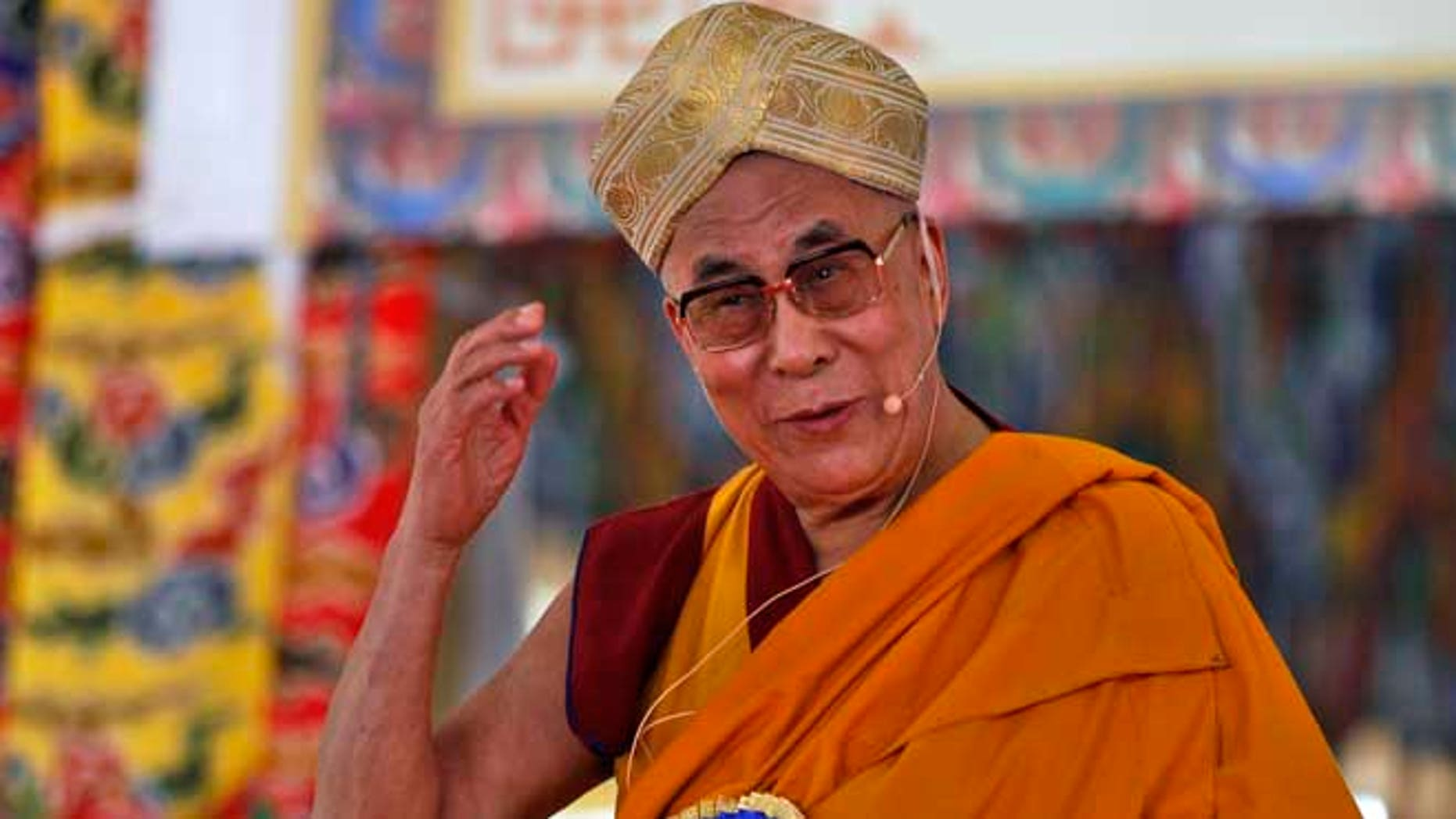 July 6, 2013: Tibetan spiritual leader the Dalai Lama speaks during an event organized to celebrate his 78th birthday at a Tibetan Buddhist monastery in Bylakuppe, about 220 kilometers (137 miles) southwest of Bangalore, India.