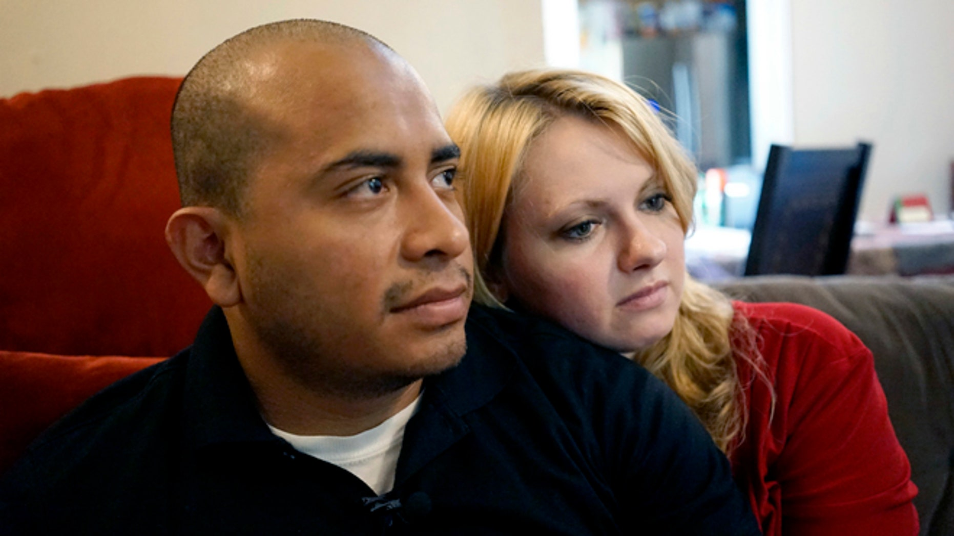 Officer Jorge Barrientos with his girlfriend, Bethany Knutson, Sunday, July 10, 2016, in Dallas.