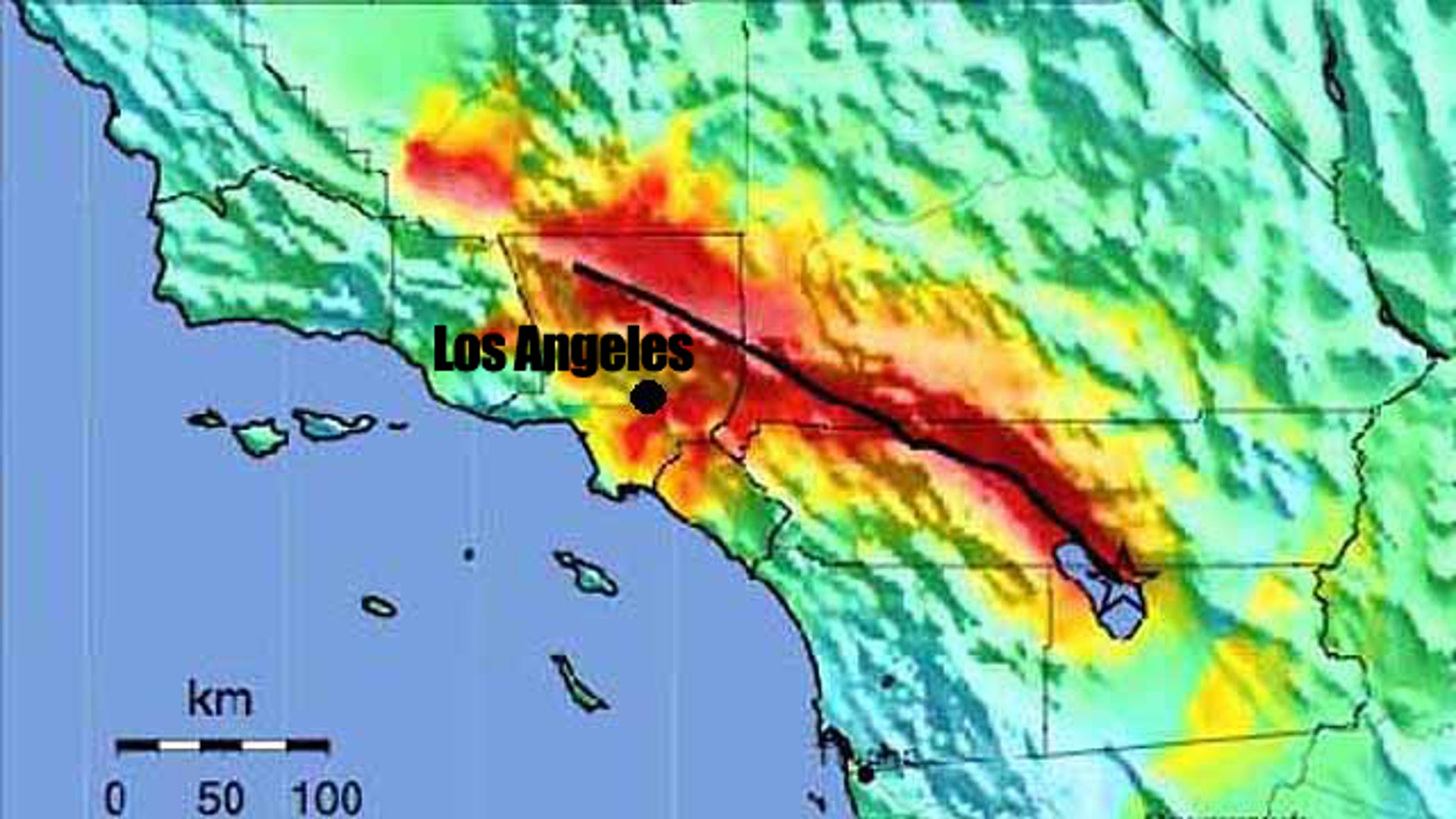 The effects of a magnitude 7.8 earthquake striking the San Andreas fault, modeled here, could cause 1,800 deaths and $213 billion of economic losses, the USGS said. Warmer colors representing areas of greater damage.