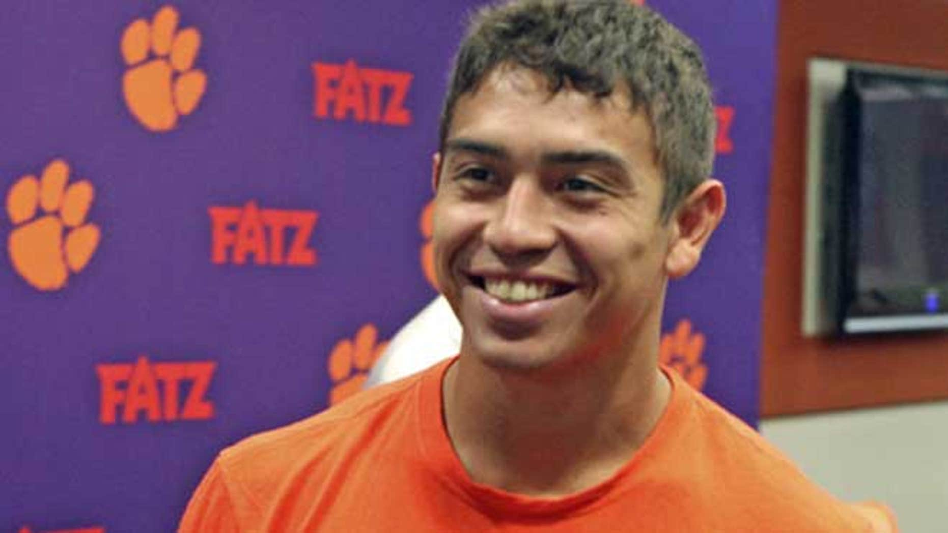 August 1, 2012: Daniel Rodriguez, a 24-year old United States Army veteran, smiles after a press conference at Clemson's Memorial Stadium in Clemson, S.C.
