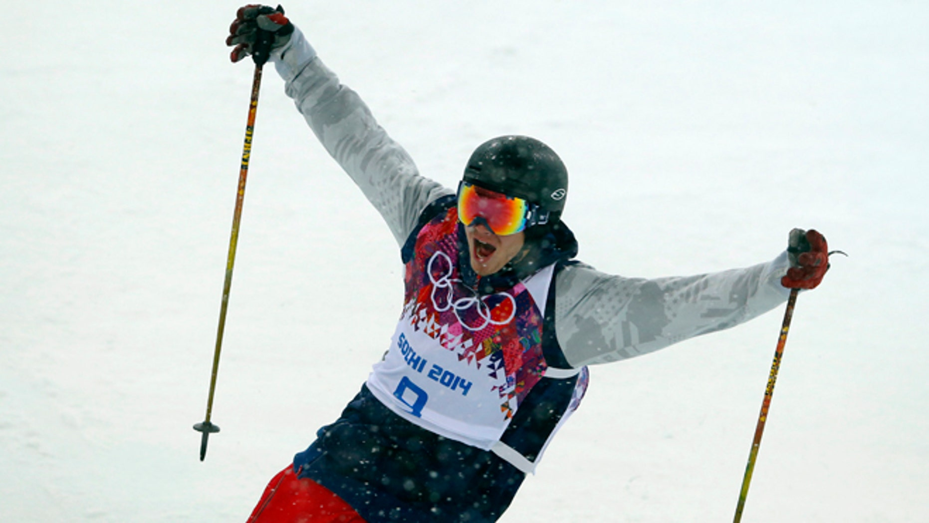 Feb. 18, 2014: David Wise of the United States reacts after a run during the men's ski halfpipe final at the Rosa Khutor Extreme Park, at the 2014 Winter Olympics.