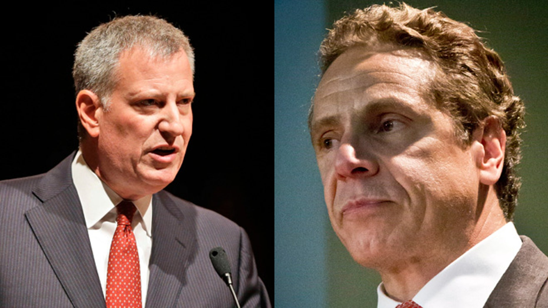 New York Mayor Bill de Blasio (left) and New York Gov. Andrew Cuomo (right).