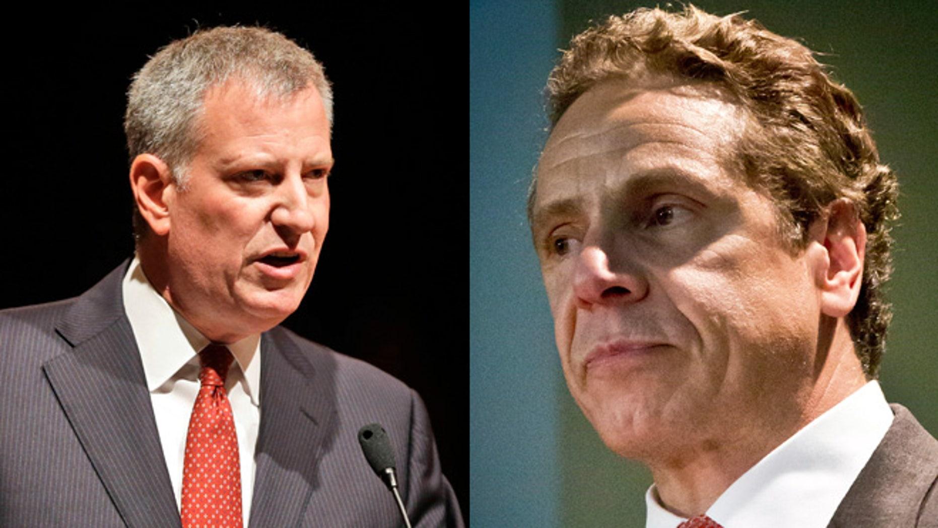 New York Mayor Bill de Blasio (left) and New York Gov. Andrew Cuomo (right).