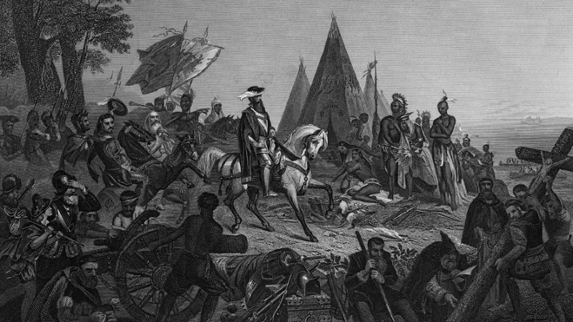 21st May 1540, Spanish explorer Hernando de Soto ( 1500 - 1542 ) 'discovers' the Mississippi. (Photo by Three Lions/Getty Images)