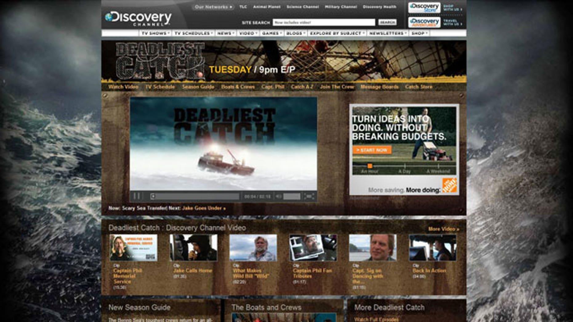 A screen grab from Deadliest Catch's website.