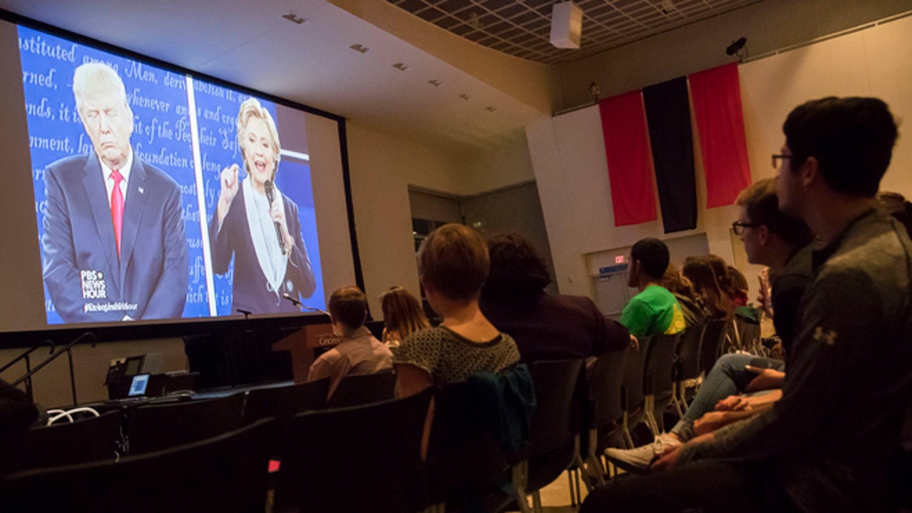 Second Presidential debate during a watch party at the University of Cincinnati, Sunday, Oct. 9, 2016, in Cincinnati.