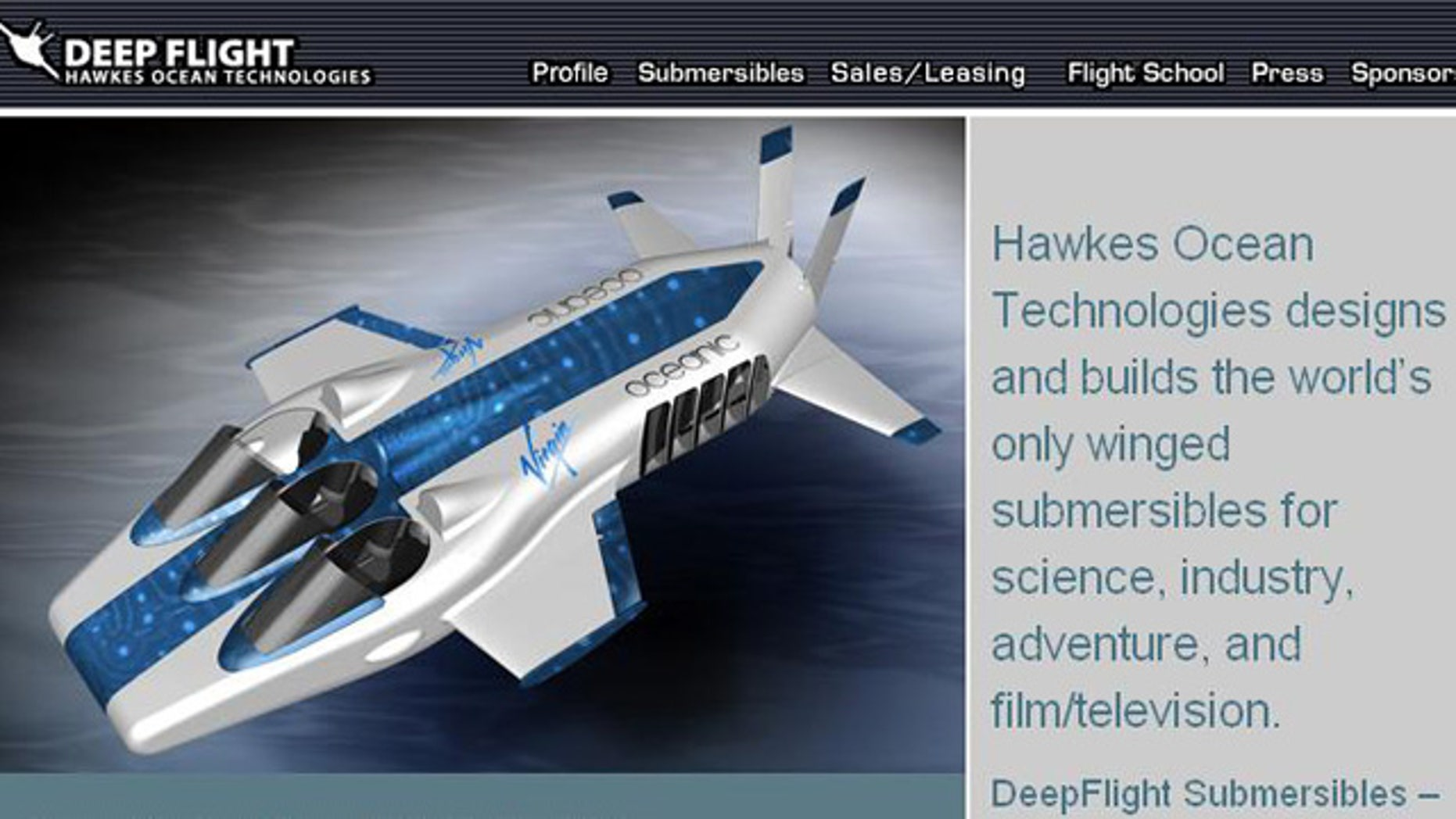 Hawkes Ocean Tech makes this DeepFlight craft, which Virgin owner Richard Branson plans to rent out to the very wealthy.