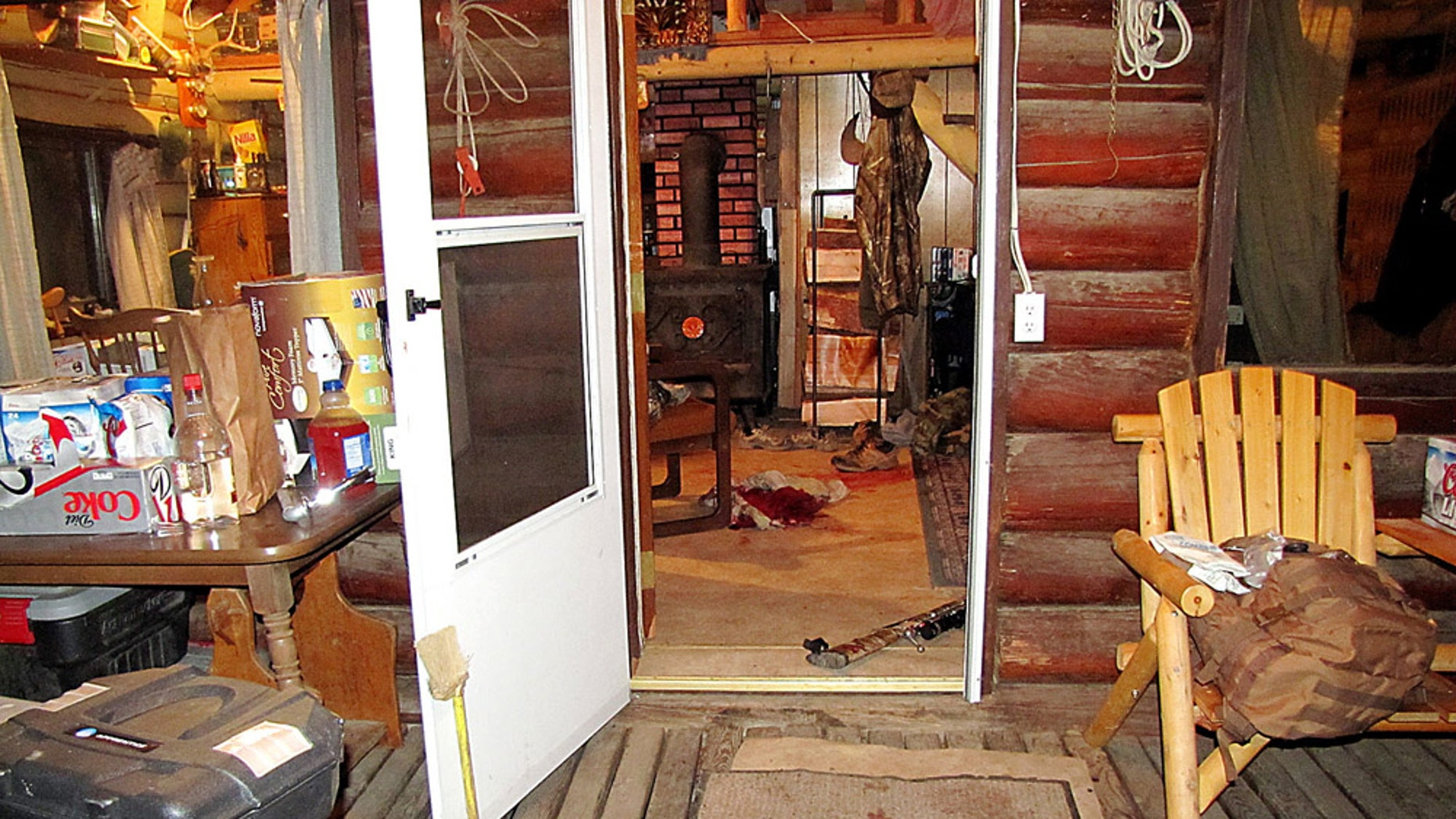 Oct. 2, 2013: This undated photo provided by the Grant County Sheriff shows a cabin near Granite, Ore., where a 14-year-old boy shot and killed two others and accidentally shot and wounded himself during a hunting trip.