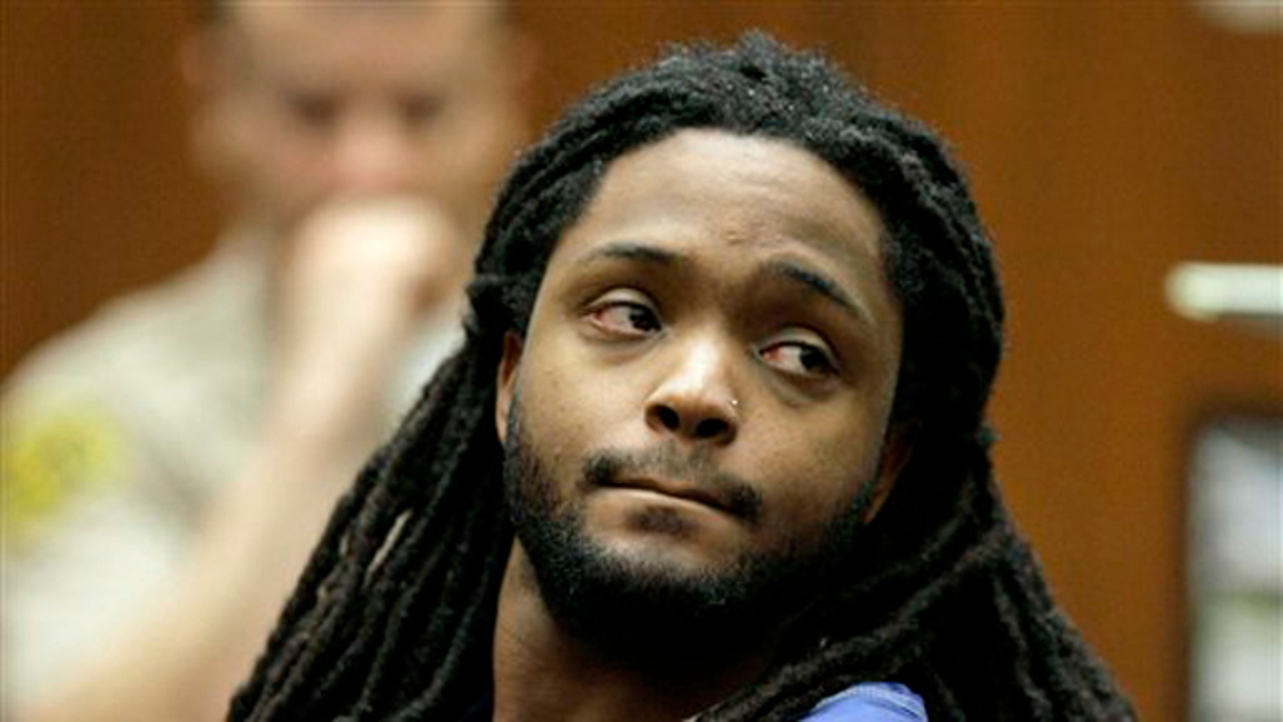 May 26: Defendant Aubrey Louis Berry is shown at a bail reduction hearing in Los Angeles Superior Court in Los Angeles. Berry has pleaded not guilty in the shooting death of Atlanta rapper Dolla, born Roderick Anthony Burton II, at a Los Angeles mall.