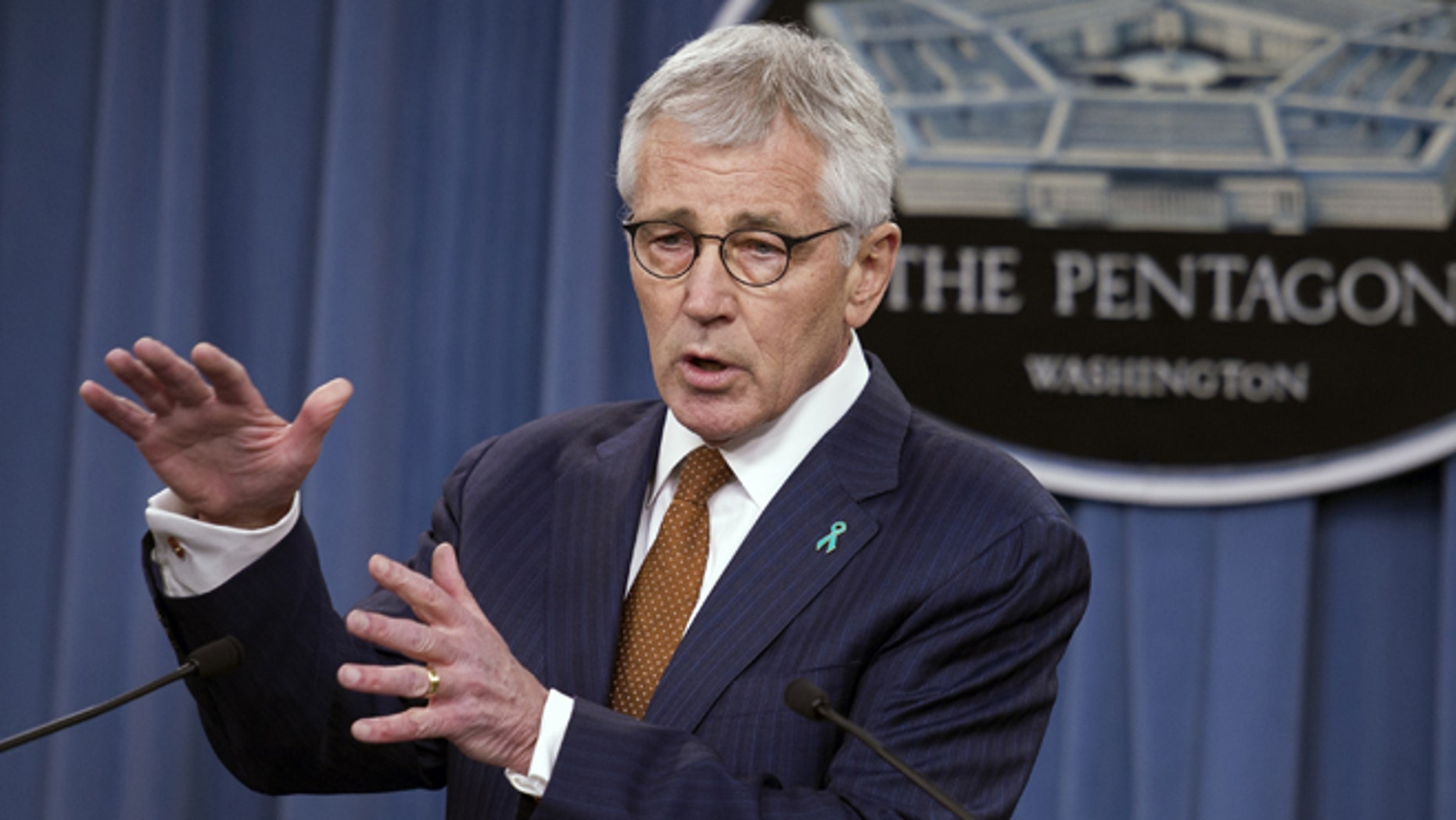 In this Thursday, Dec. 4, 2014 photo, Defense Secretary Chuck Hagel speaks at the Pentagon.