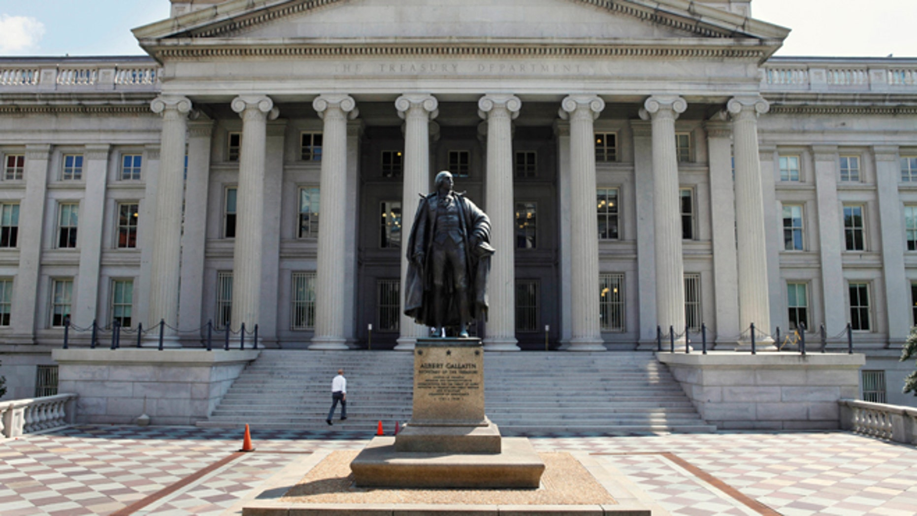 Aug. 8, 2011: A statue of former Treasury Secretary Albert Gallatin stands in front of the Department of the Treasury in Washington.