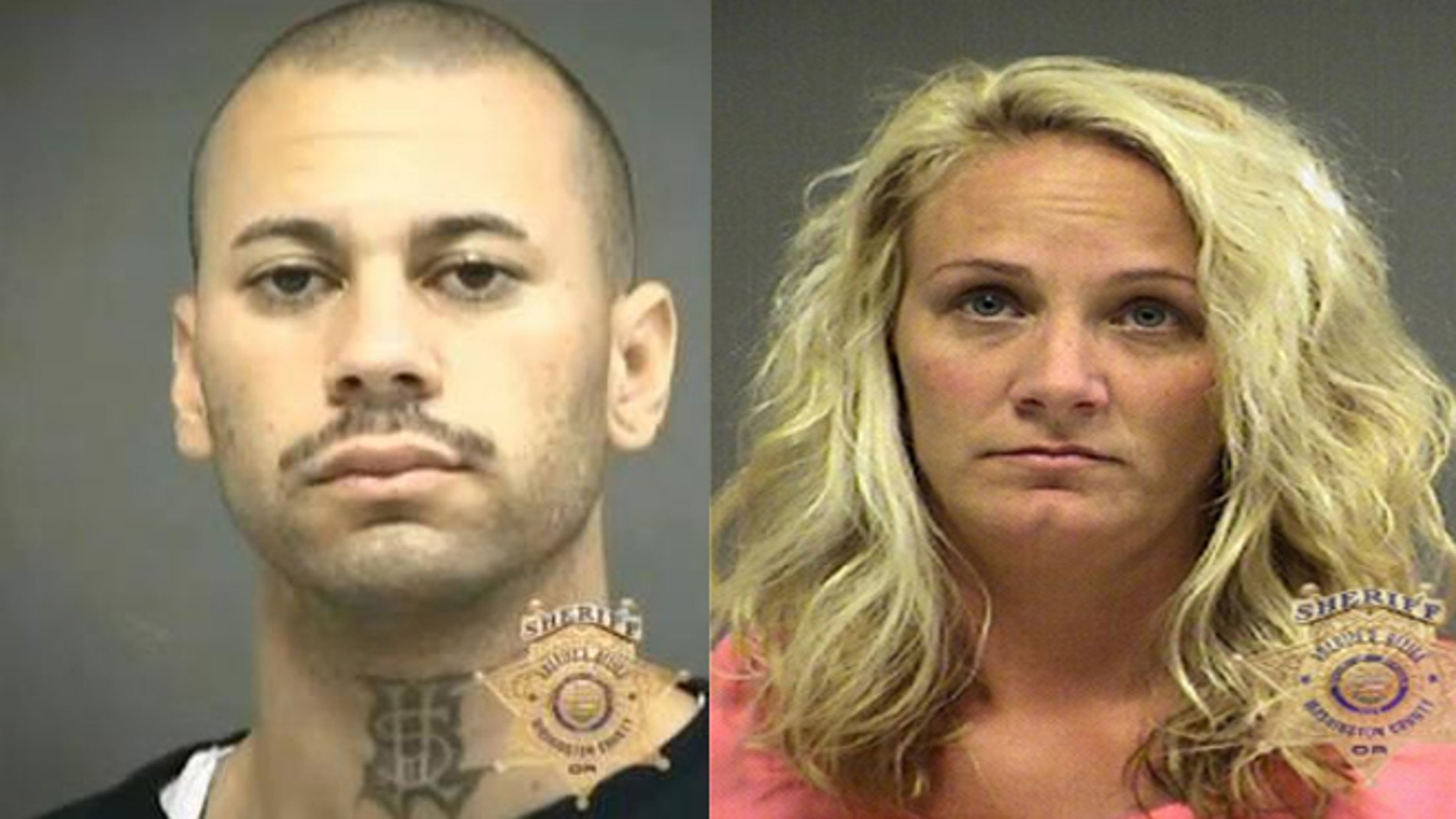 Jill Curry (R) was convicted to just over four years in prison for sneaking Jeng-Li Delgado-Galban (L) out of his prison cell to have sex in a supply closest when Curry worked as a jail technician in Oregon.