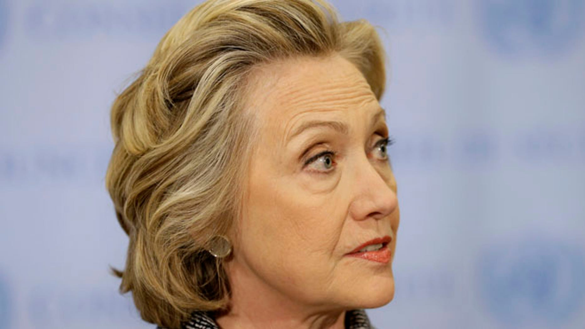 March 5, 2015: Hillary Rodham Clinton speaks to the reporters at United Nations headquarters.