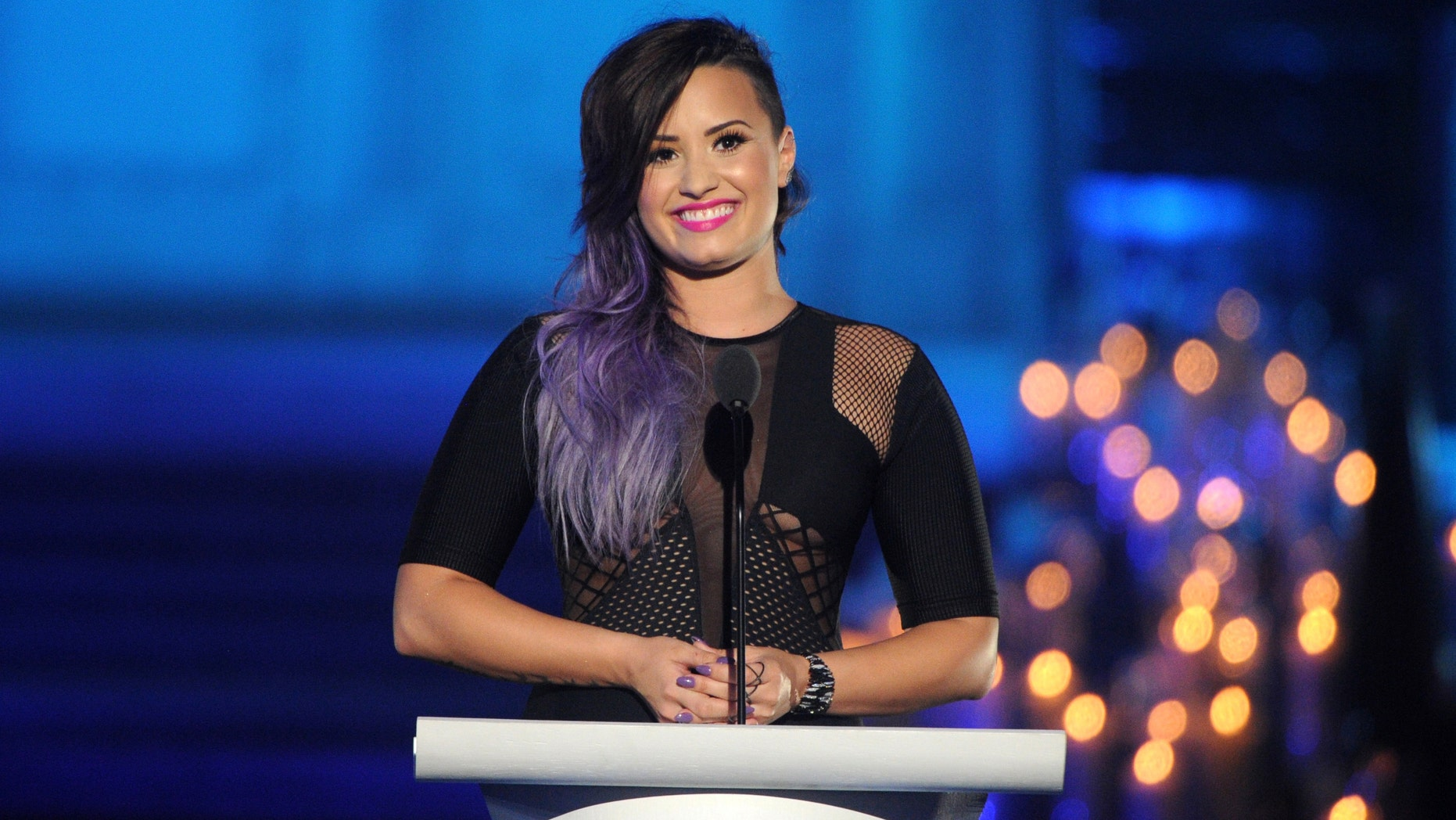 """Lovato onstage during Logo TV's """"Trailblazers"""" at St. John the Divine on June 23, 2014 in New York City."""