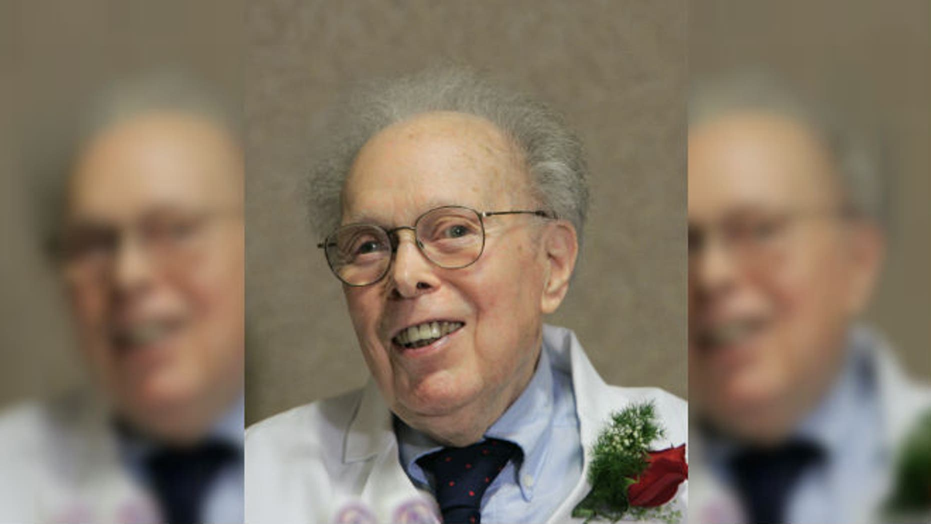 In this photo taken on Feb. 14, 2006, Dr. Denham Harman smiles at his 90th birthday celebration at the University of Nebraska Medical Center in Omaha, Neb. (AP Photo/Nati Harnik)