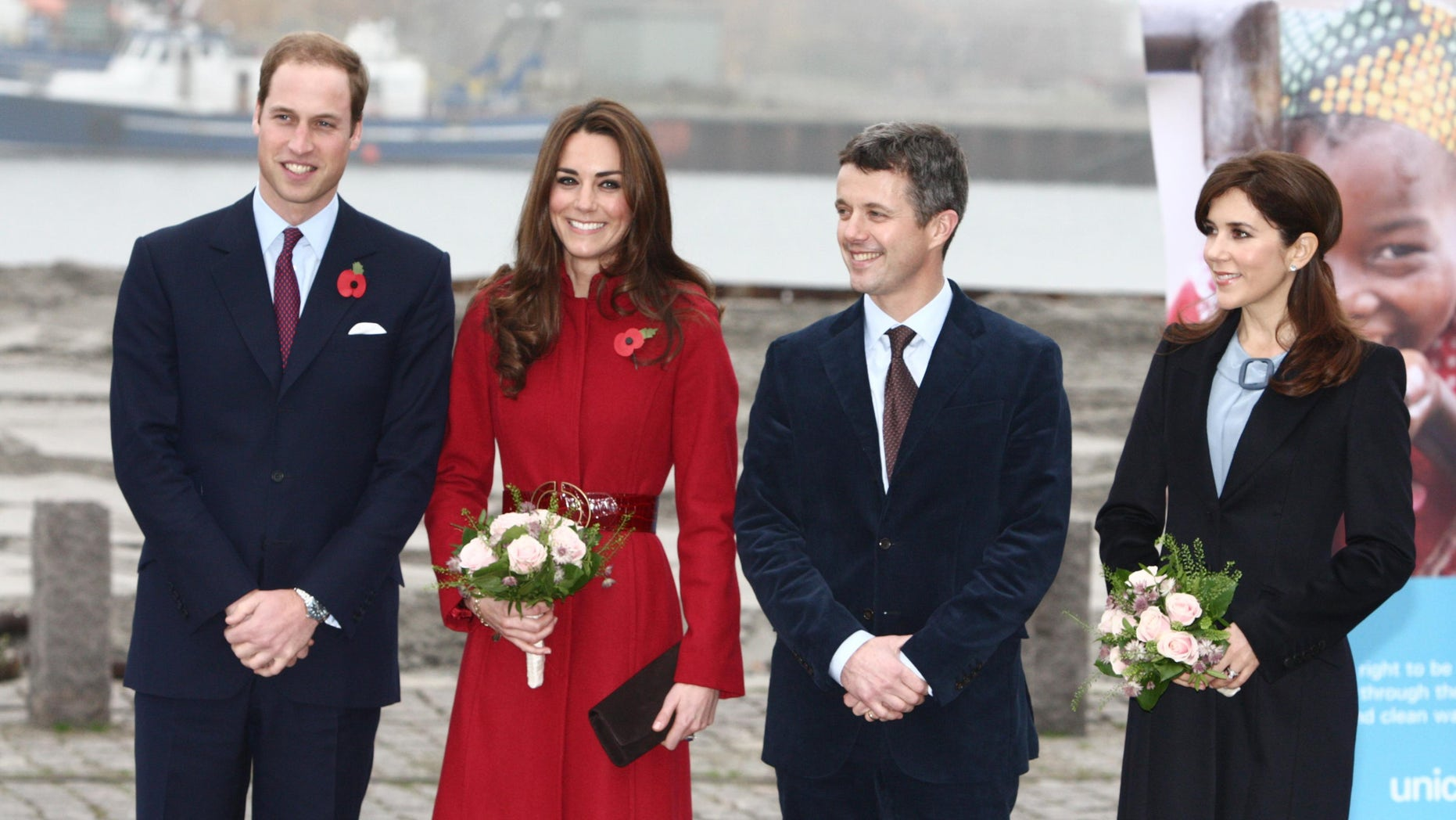 Nov. 2, 2011: Britain's Prince William, left, Catherine Duchess of Cambridge, 2nd left, Denmark's Crown Prince Frederik and Crown Princess Mary pose for the cameras in Copenhagen.