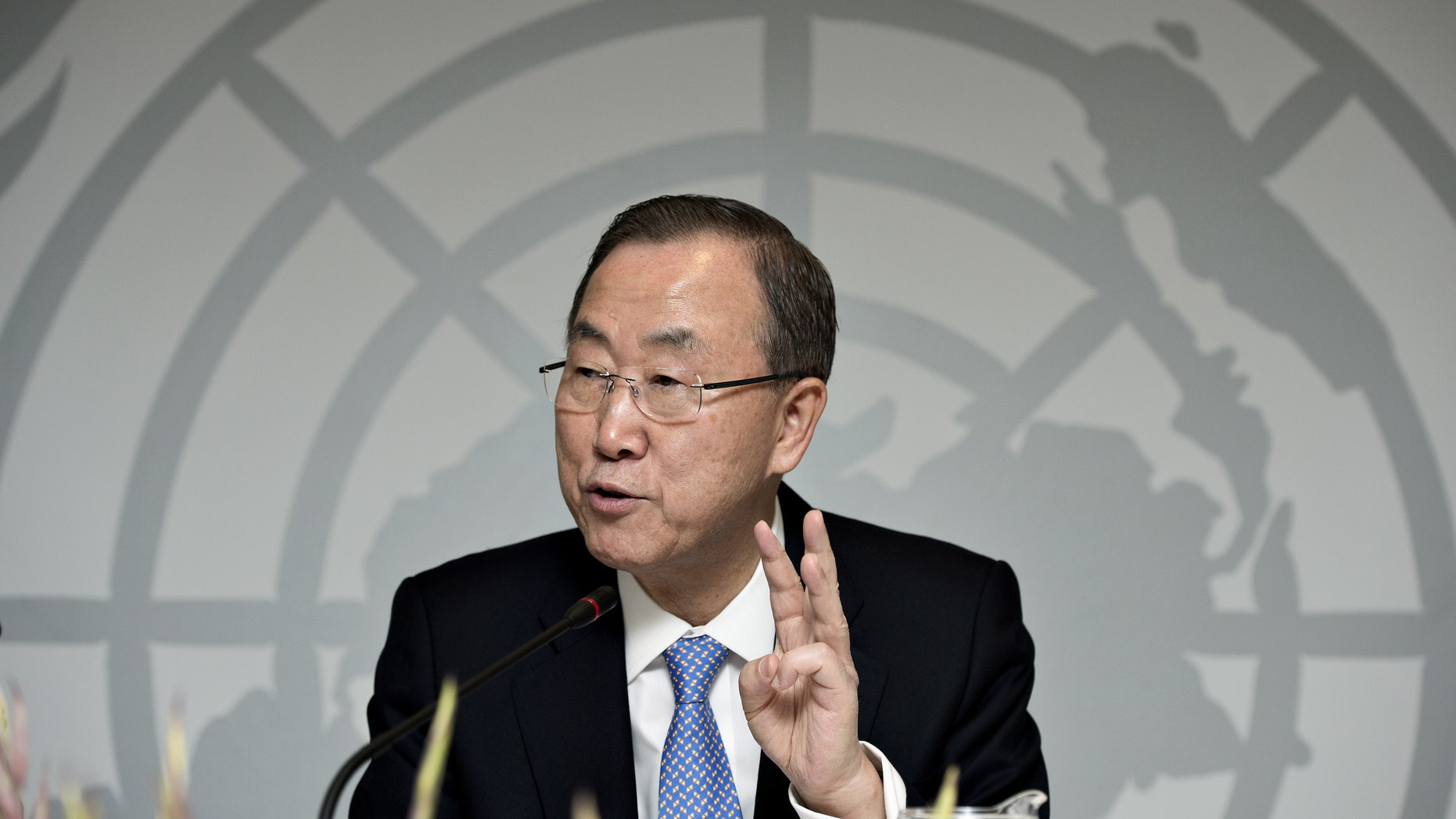 Oct. 23, 2013 - FILE photo of UN General Secretary Ban Ki-moon during a press conference in Copenhagen, Denmark.