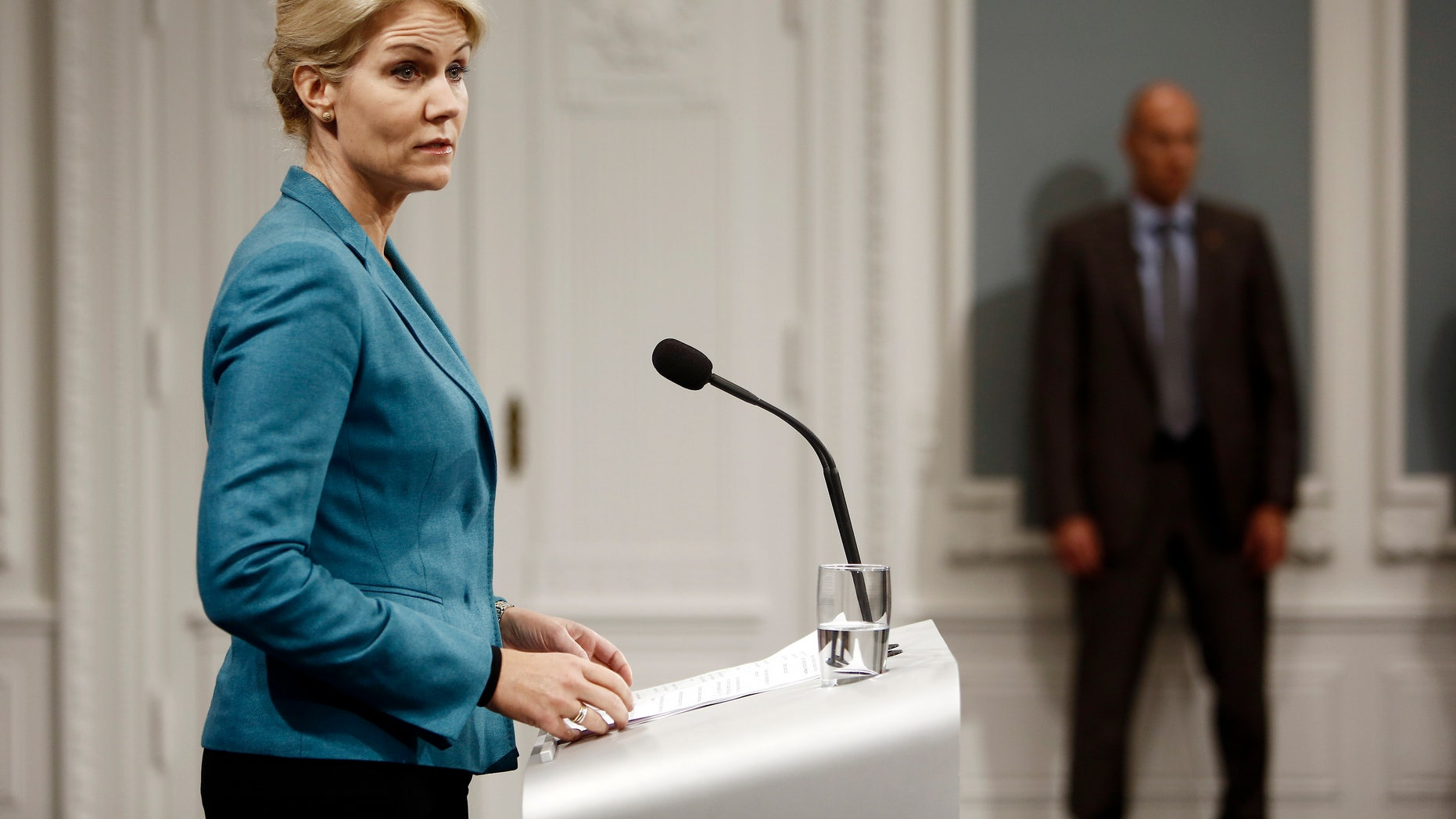 Sept. 26, 2014: Danish Prime Minister, Helle Thorning-Schmidt, at a news conference in the Prime Ministers Office, Copenhagen, Denmark. The Prime Minister announced Denmark's contribution to the fight against the Islamist State rebel group will consist of seven F16 fighter aircraft from the Danish Air Force. (AP/Polfoto, Janus Engel)