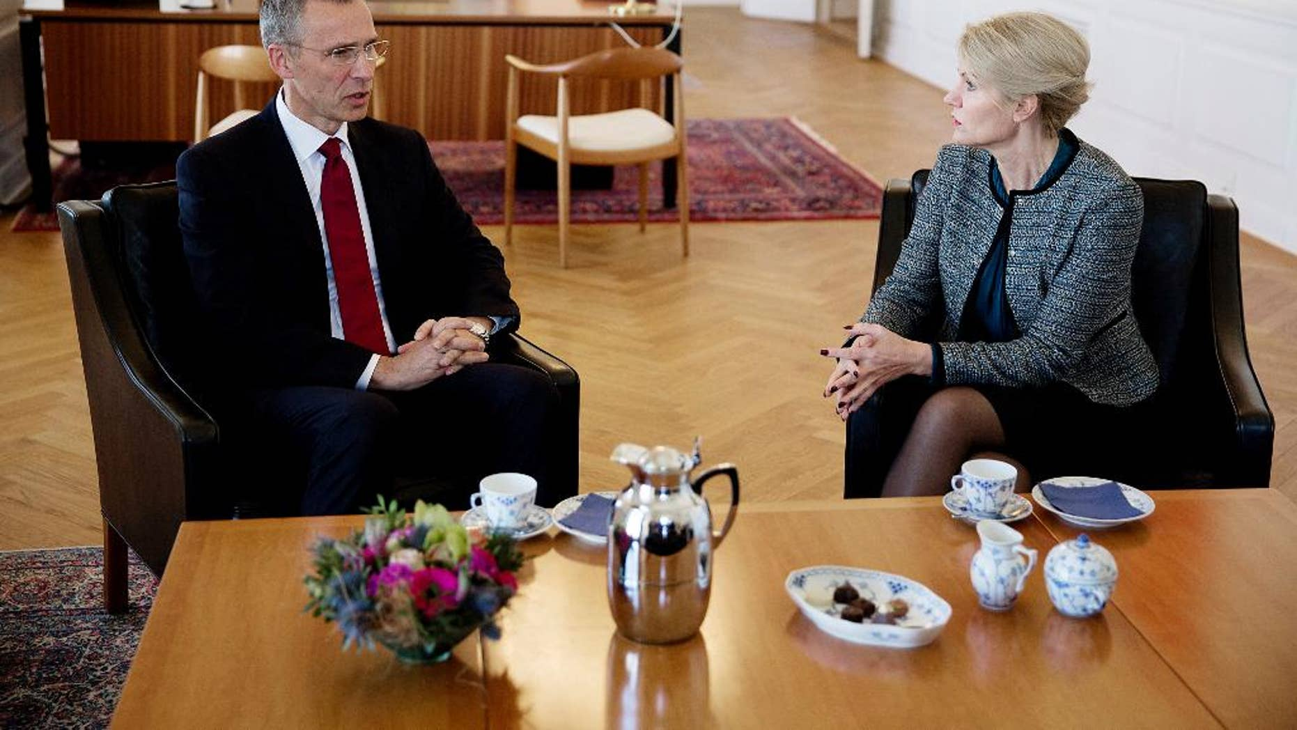 Secretary General of NATO, Jens Stoltenberg, meets with Denmark Prime Minister of Helle Thorning-Schmidt, right, at the Prime Minister's Office in Copenhagen on Monday April 20, 2015. (Thomas Borberg/Polfoto via AP) DENMARK OUT