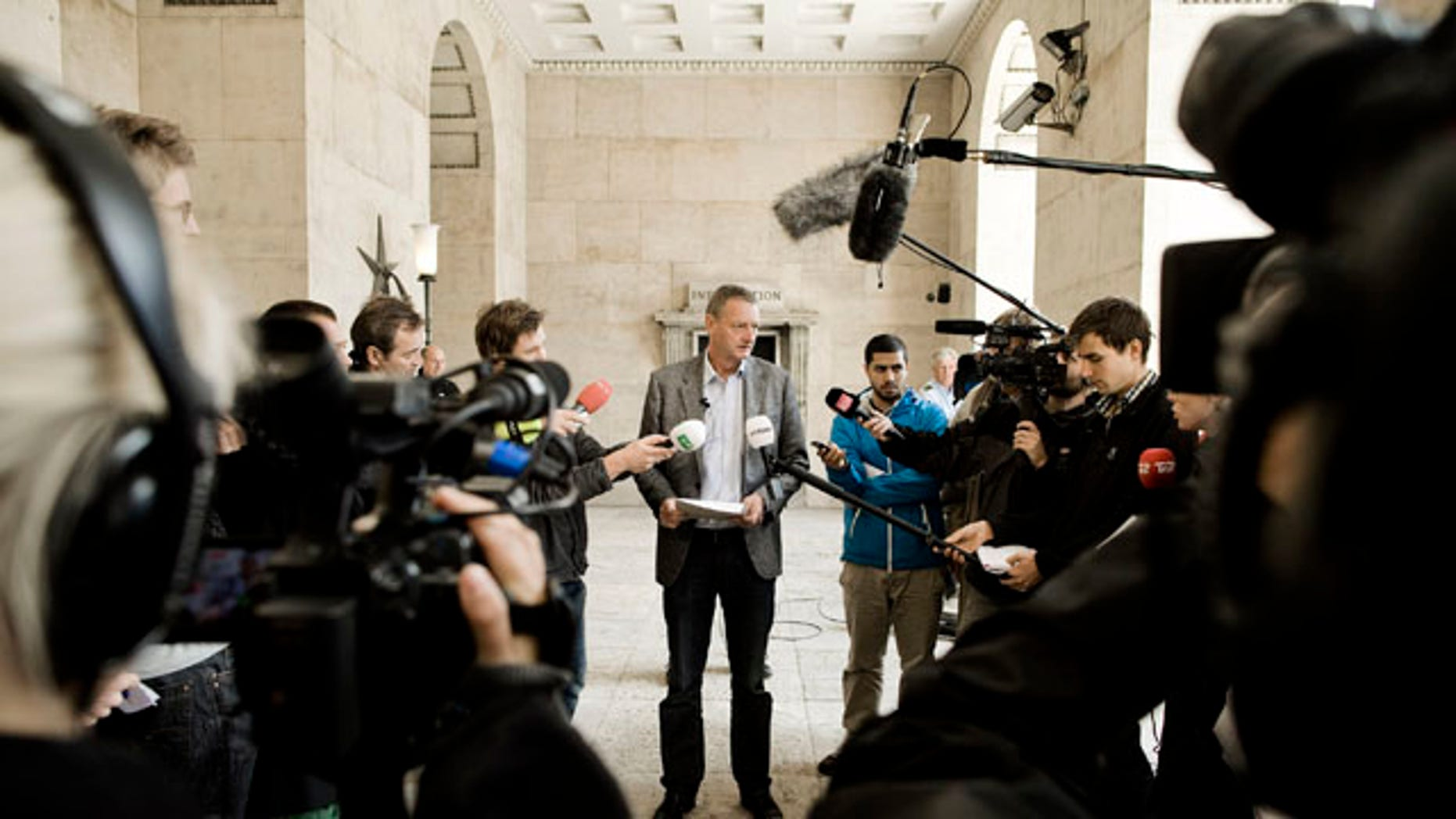September 15: Investigator Svend Foldager of the Danish Police, talks to the media in Copenhagen, Denmark, regarding the man being held suspected of setting off a small explosion in a Copenhagen hotel. (AP)