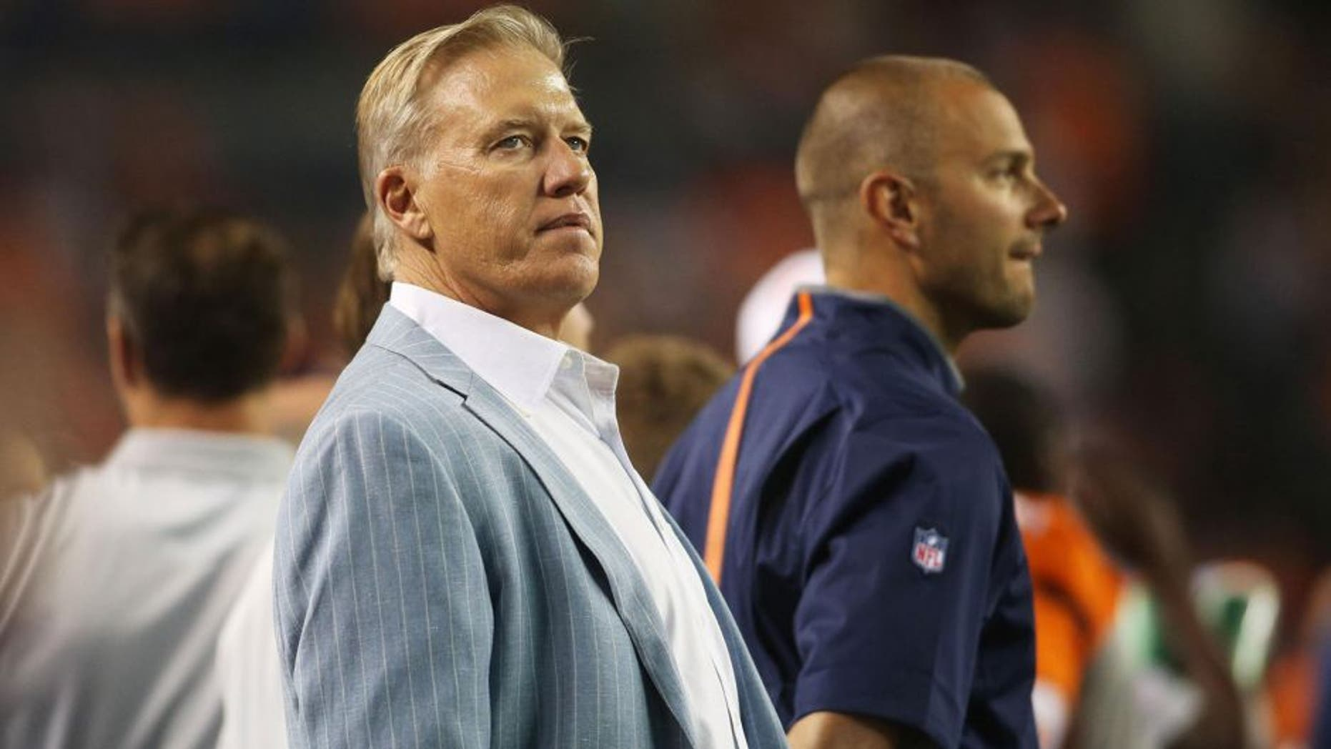 Aug 29, 2015; Denver, CO, USA; Denver Broncos general manager John Elway during the second half against the San Francisco 49ers at Sports Authority Field at Mile High. The Broncos won 19-12. Mandatory Credit: Chris Humphreys-USA TODAY Sports