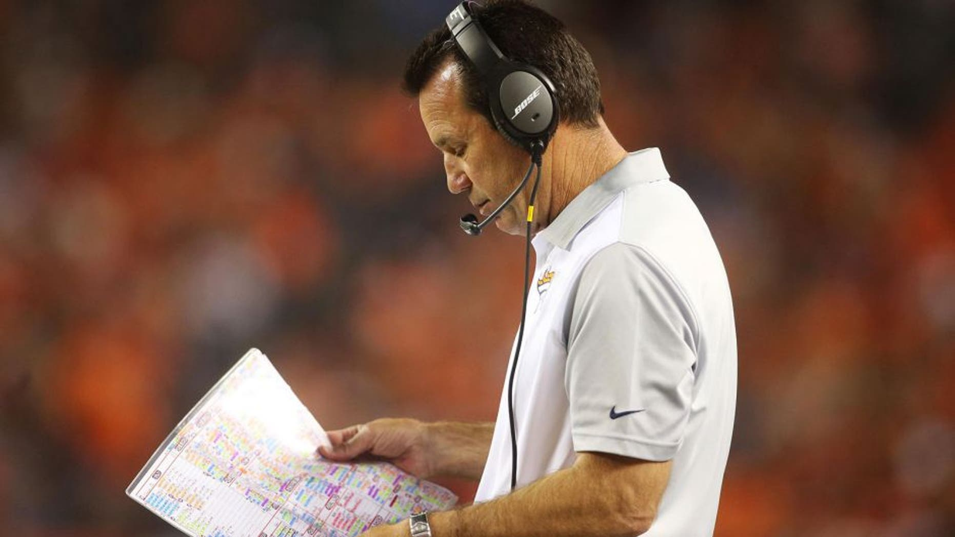 Aug 29, 2015; Denver, CO, USA; Denver Broncos head coach Gary Kubiak during the second half against the San Francisco 49ers at Sports Authority Field at Mile High. The Broncos won 19-12. Mandatory Credit: Chris Humphreys-USA TODAY Sports