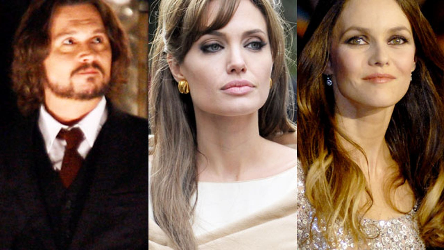 Johnny Depp and Angelina Jolie (center) will reportedly film a love scene together for their upcoming film, which made Depp's partner Vanessa Paradis uncomfortable, according to sources.
