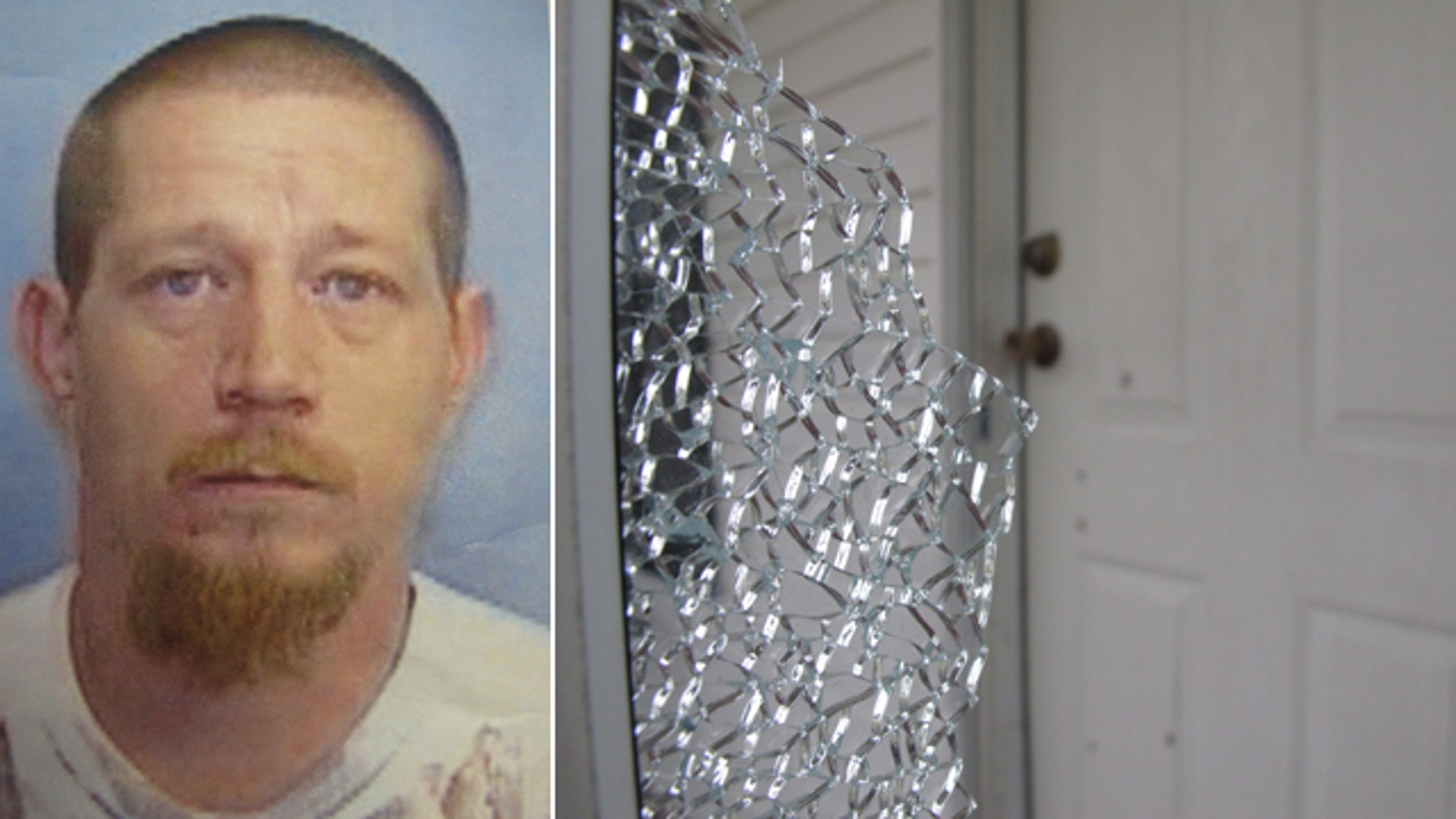 July 30, 2014: The undated photo at left shows Andrew Michaelis of Fayetteville, N.C. Police say Michaelis killed his father-in-law and a 10-year-old boy, before wounding at least three officers. At right, a shattered storm window stands near a bullet-riddled door at a home. (AP Photo/Cumberland County Sheriff's Office/Allen G. Breed)