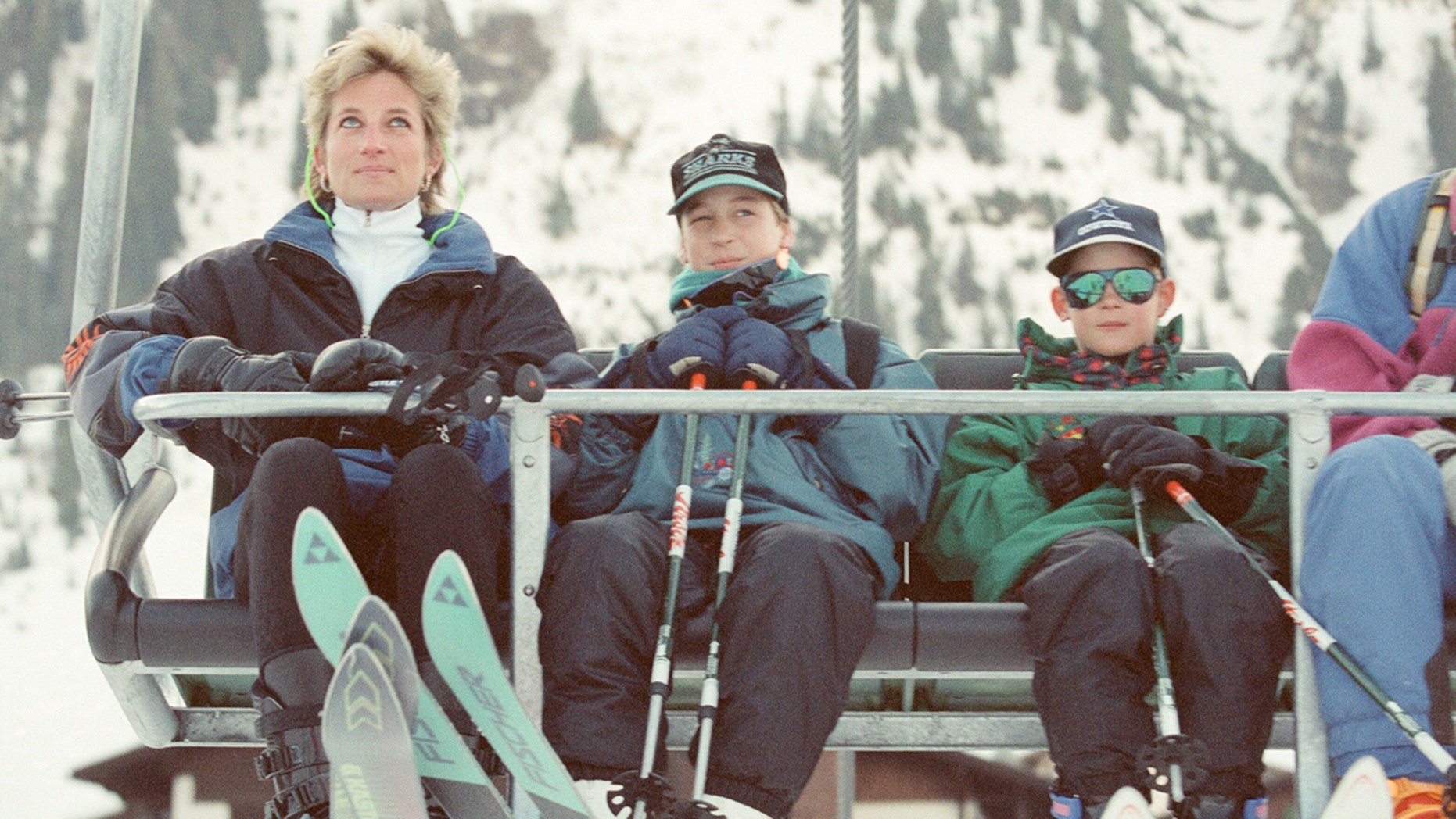 Princess Diana on a ski holiday with her sons in Lech, Austria, on March 25, 1994.