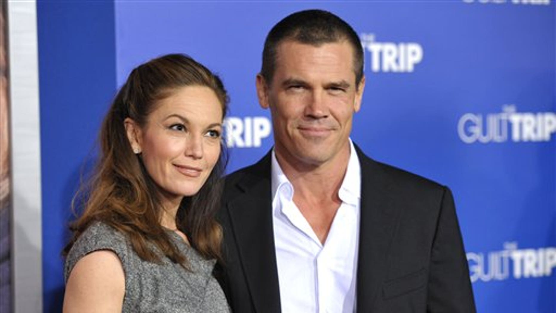 "This Dec. 11, 2012 file photo shows actors Diane Lane, left, and Josh Brolin at the LA premiere of ""The Guilt Trip"" in Los Angeles."