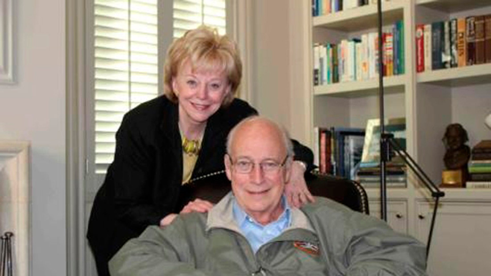 April 3, 2012: Former U.S. Vice President Dick Cheney and his wife Lynne are pictured at home in this family photograph.