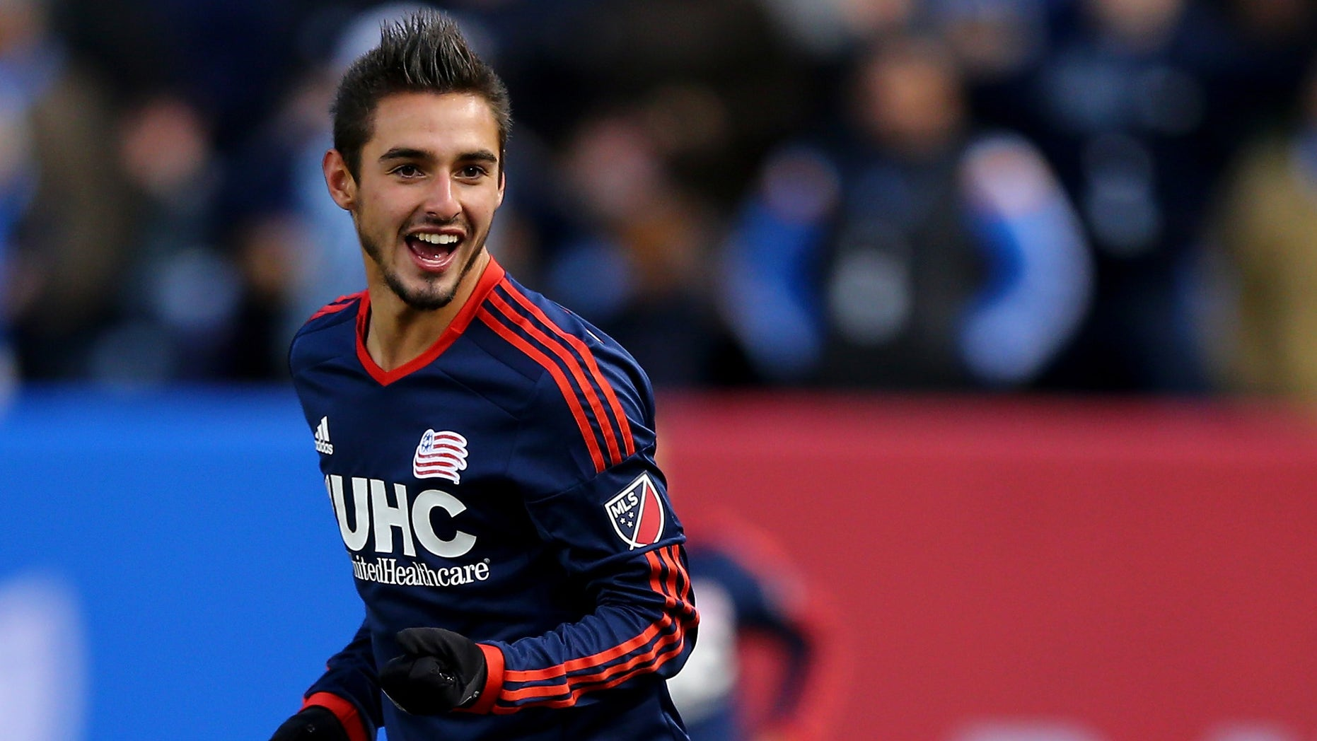 NEW YORK, NY - MARCH 15:  Diego Fagundez #14 of New England Revolution reacts in the second half against the New York City FC during the inaugural game of the New York City FC at Yankee Stadium on March 15, 2015 in the Bronx borough of New York City.The New York City FC defeated the New England Revolution 2-0.  (Photo by Elsa/Getty Images)