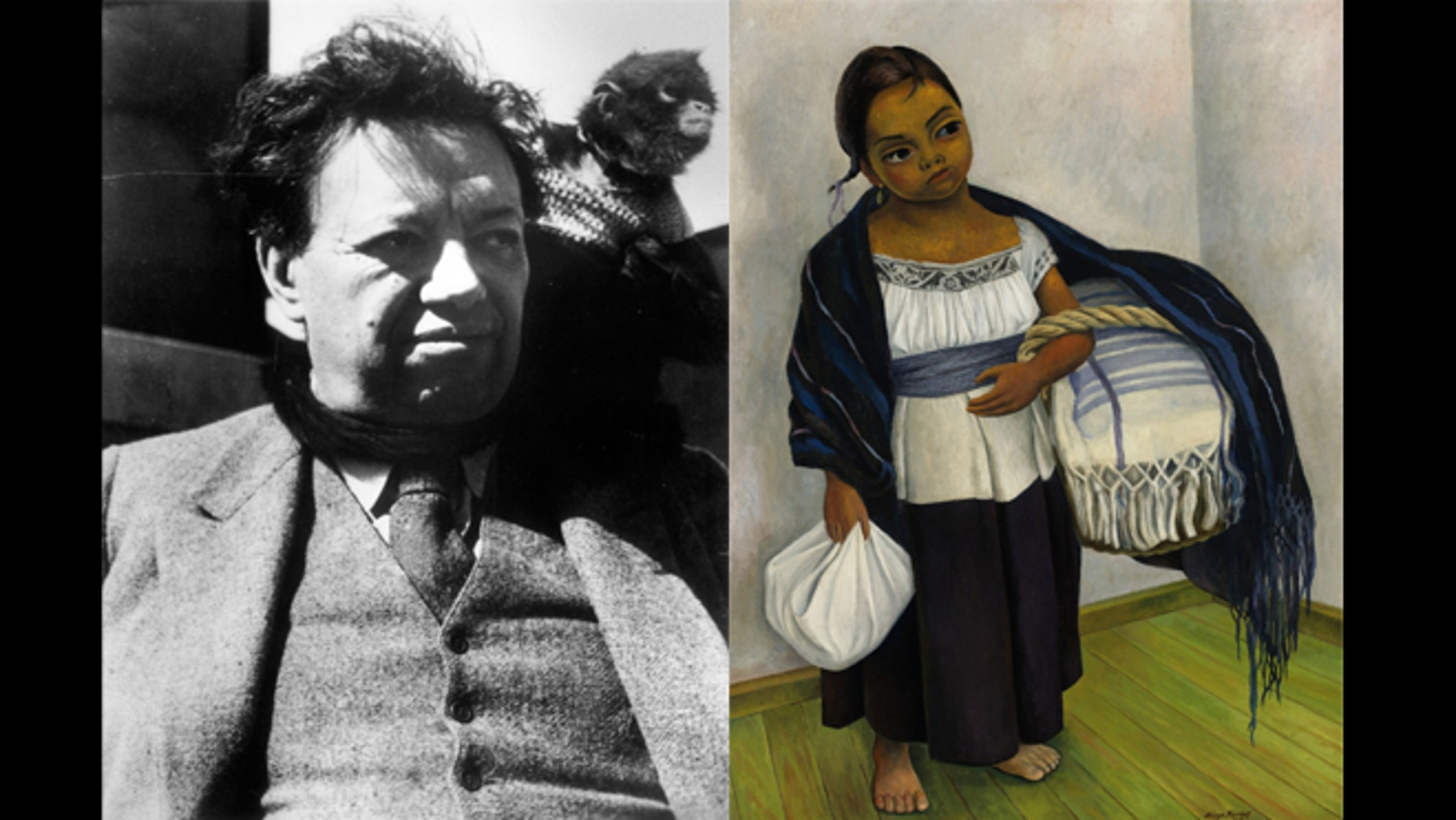 """On the left, Painter Diego Rivera (1886 - 1957) at his home in San Angel in January of 1950. (Photo by Three Lions/Getty Images) He was Famous for his murals depicting life and history of the Mexican people, including his 1939 oil painting """"Girl in Blue and White."""" (AP)"""