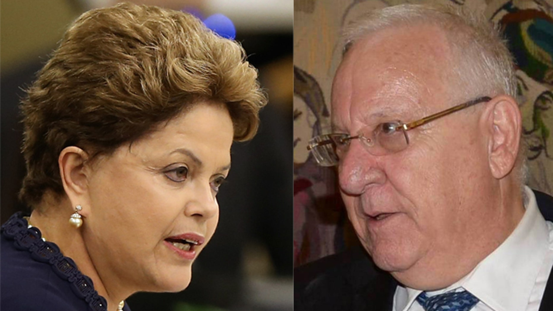 A photo composite of Brazilian President Dilma Rousseff (left) and Israeli President Reuven Rivlin (right).