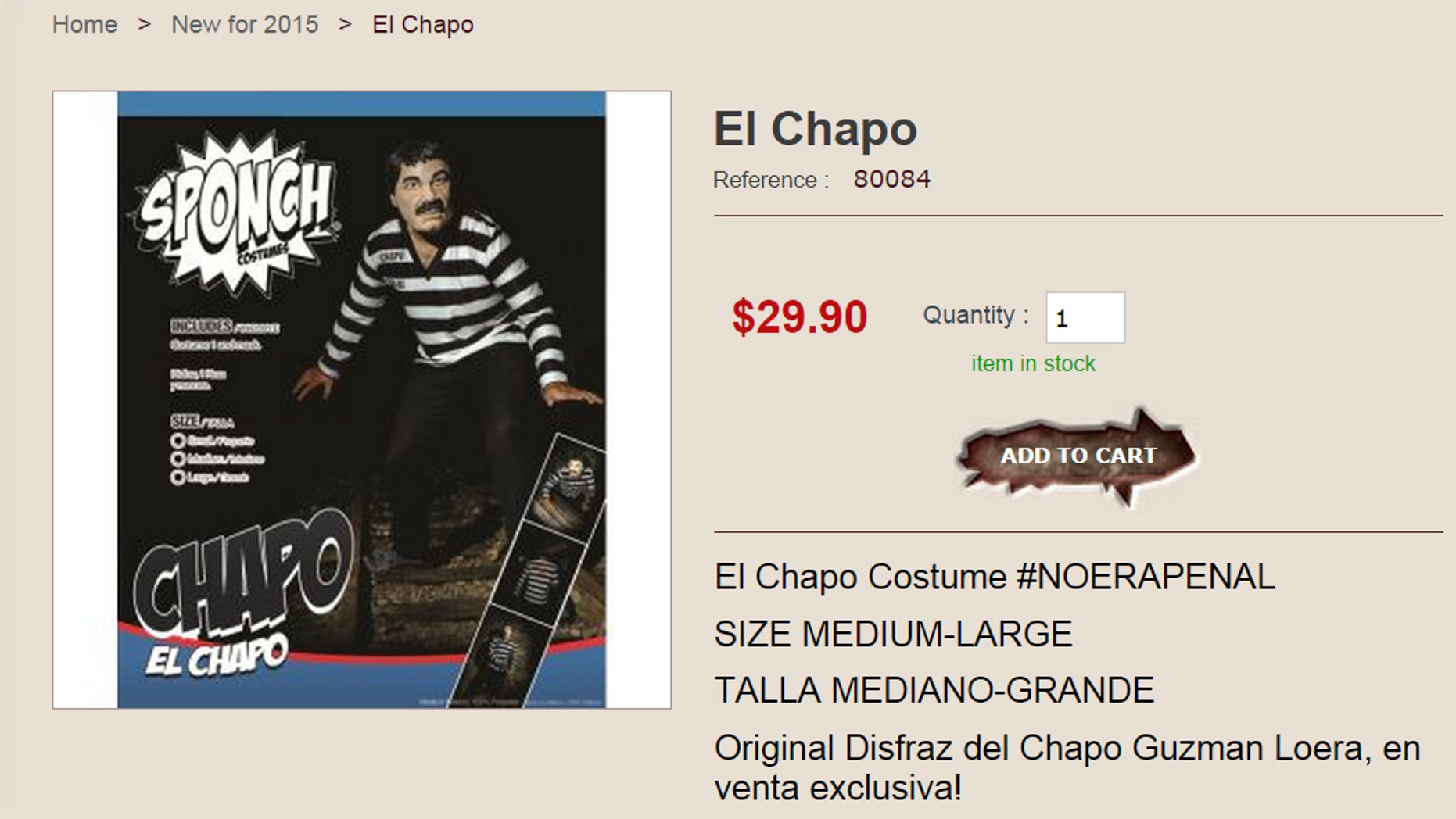 El Chapo outfit at GhoulishProductions.com. (Image: Screen shot)
