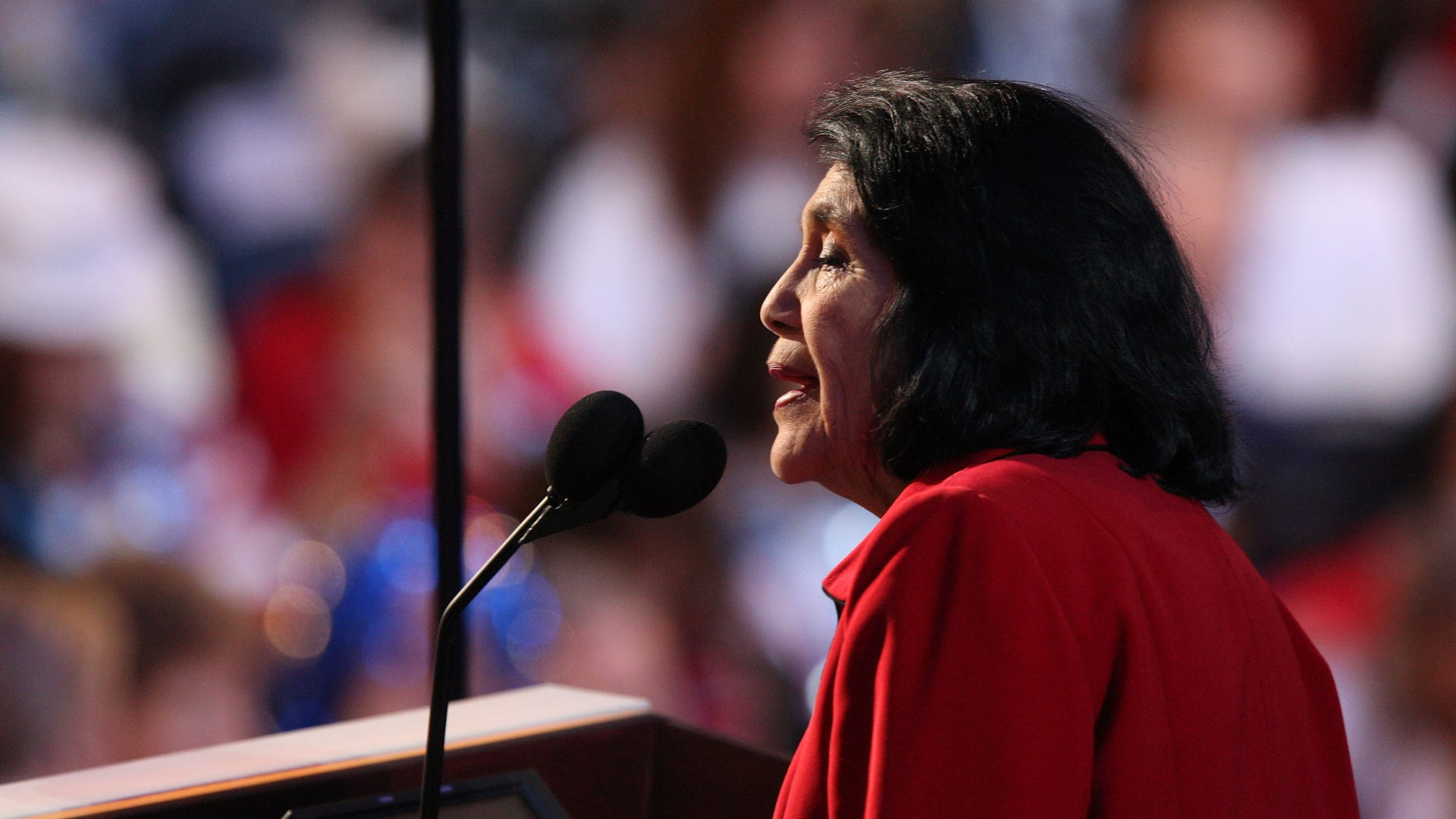 DENVER - AUGUST 27:  Dolores Huerta, President of the Dolores Huerta foundation, nominates U.S. Sen. Hillary Clinton for U.S. Presidentduring day three of the Democratic National Convention (DNC) at the Pepsi Center August 27, 2008 in Denver, Colorado. U.S. Sen. Barack Obama (D-IL) will be officially be nominated as the Democratic candidate for U.S. president on the last day of the four-day convention.  (Photo by John Moore/Getty Images)