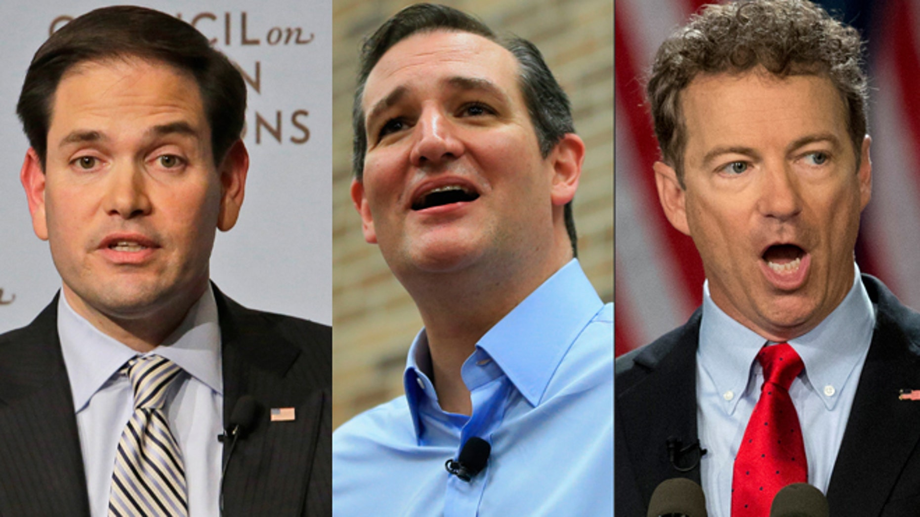 This photo combination shows, from left, Republic presidential candidates Sen. Marco Rubio, Sen. Ted Cruz, of Texas, and Sen. Rand Paul, of Kentucky. (AP Photo/Mary Altaffer/Nati Harnik/Carloyn Kaster)
