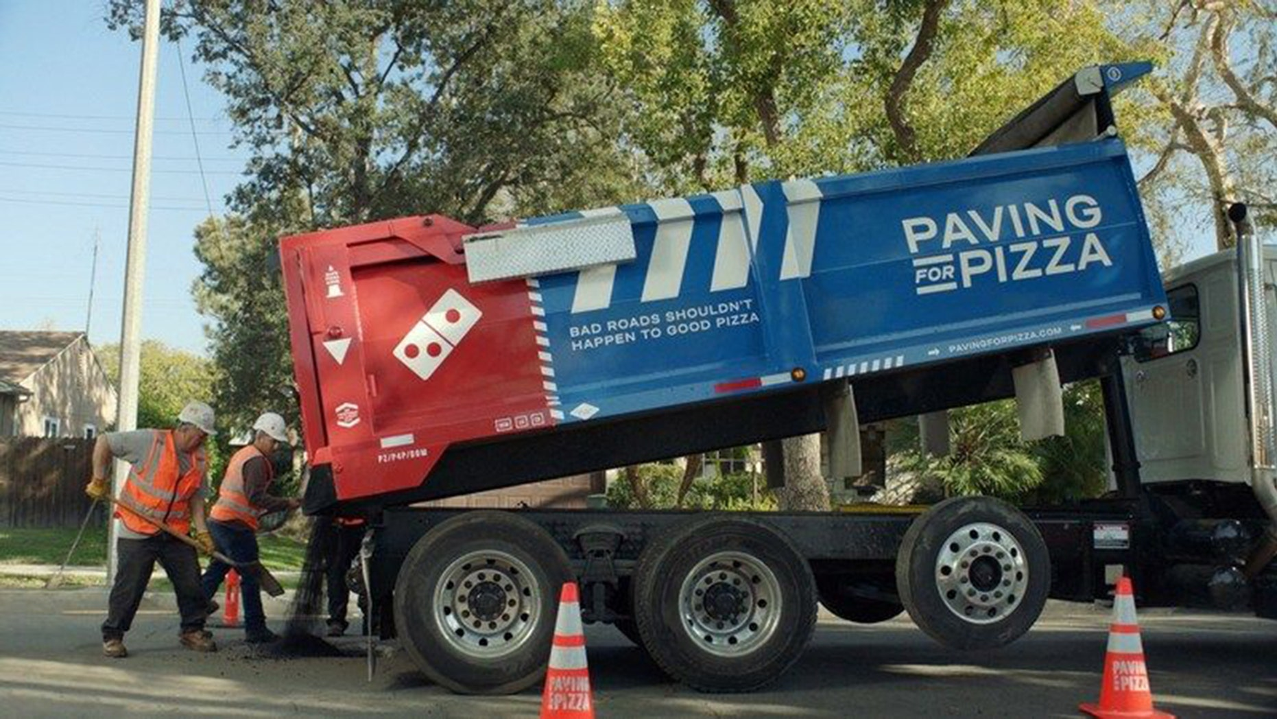 "Domino's Pizza is paving streets across America as part of its ""Paving for Pizza"" campaign."