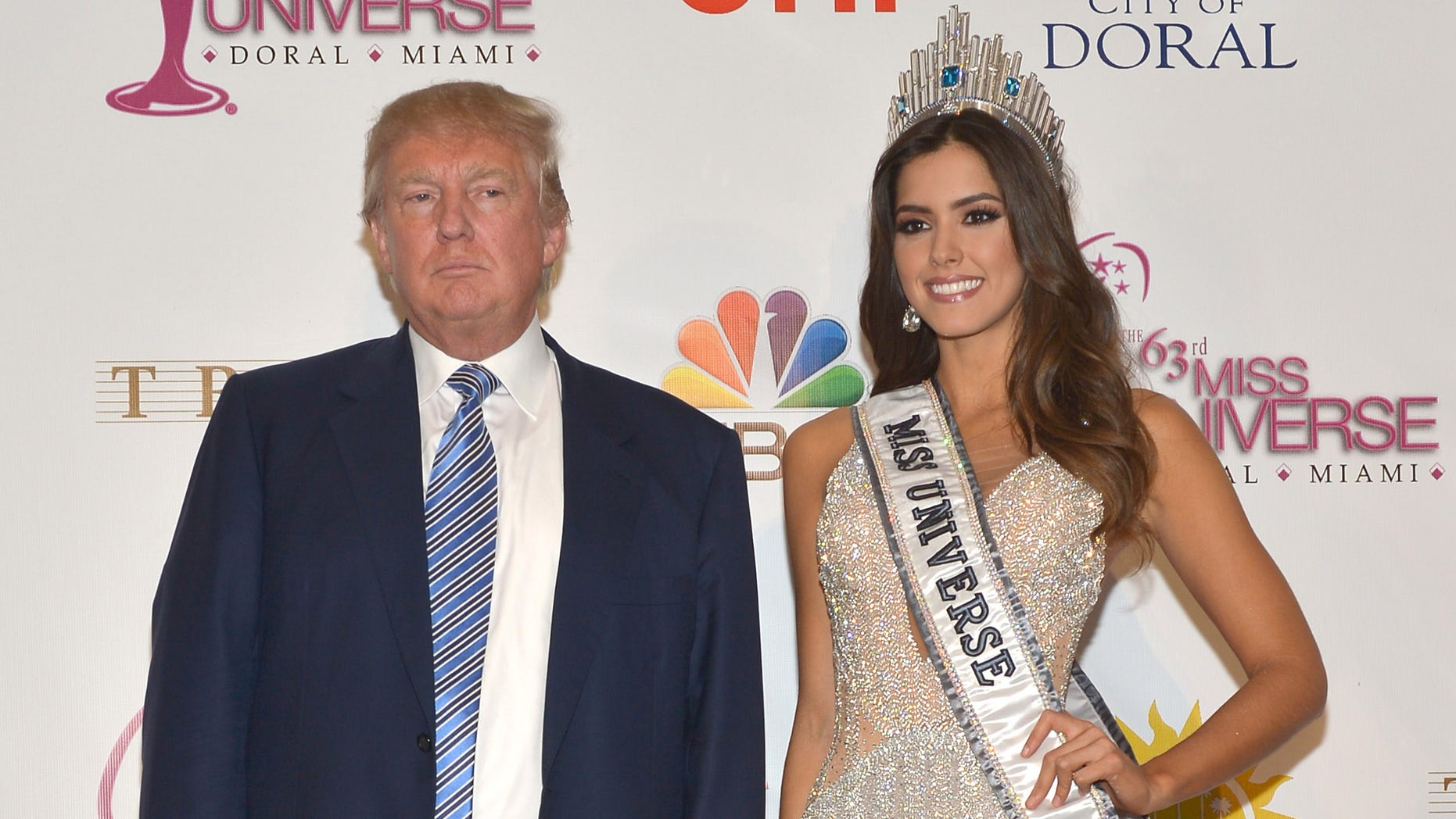 DORAL, FL - JANUARY 25: Donald Trump and Miss Universe Paulina Vega attend The 63rd Annual Miss Universe Pageant winner press conference at Trump National Doral on January 25, 2015 in Doral, Florida. (Photo by Rodrigo Varela/Getty Images)