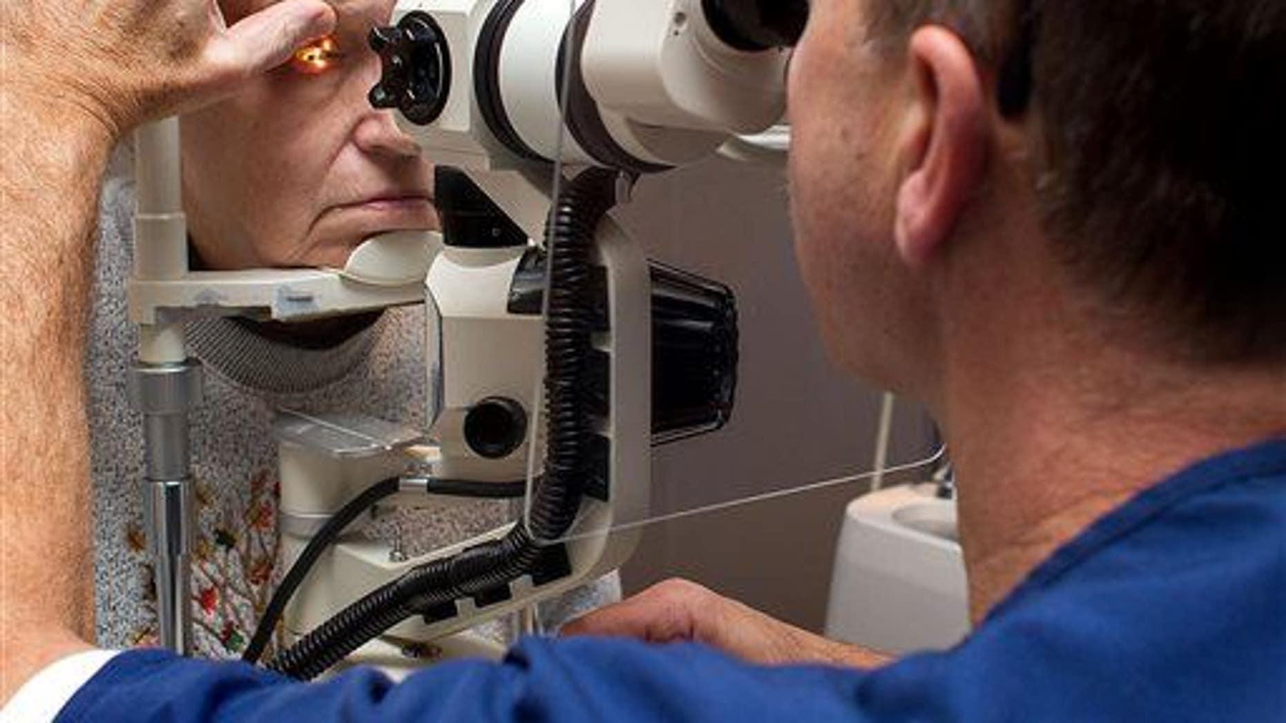 An eye exam in progress.